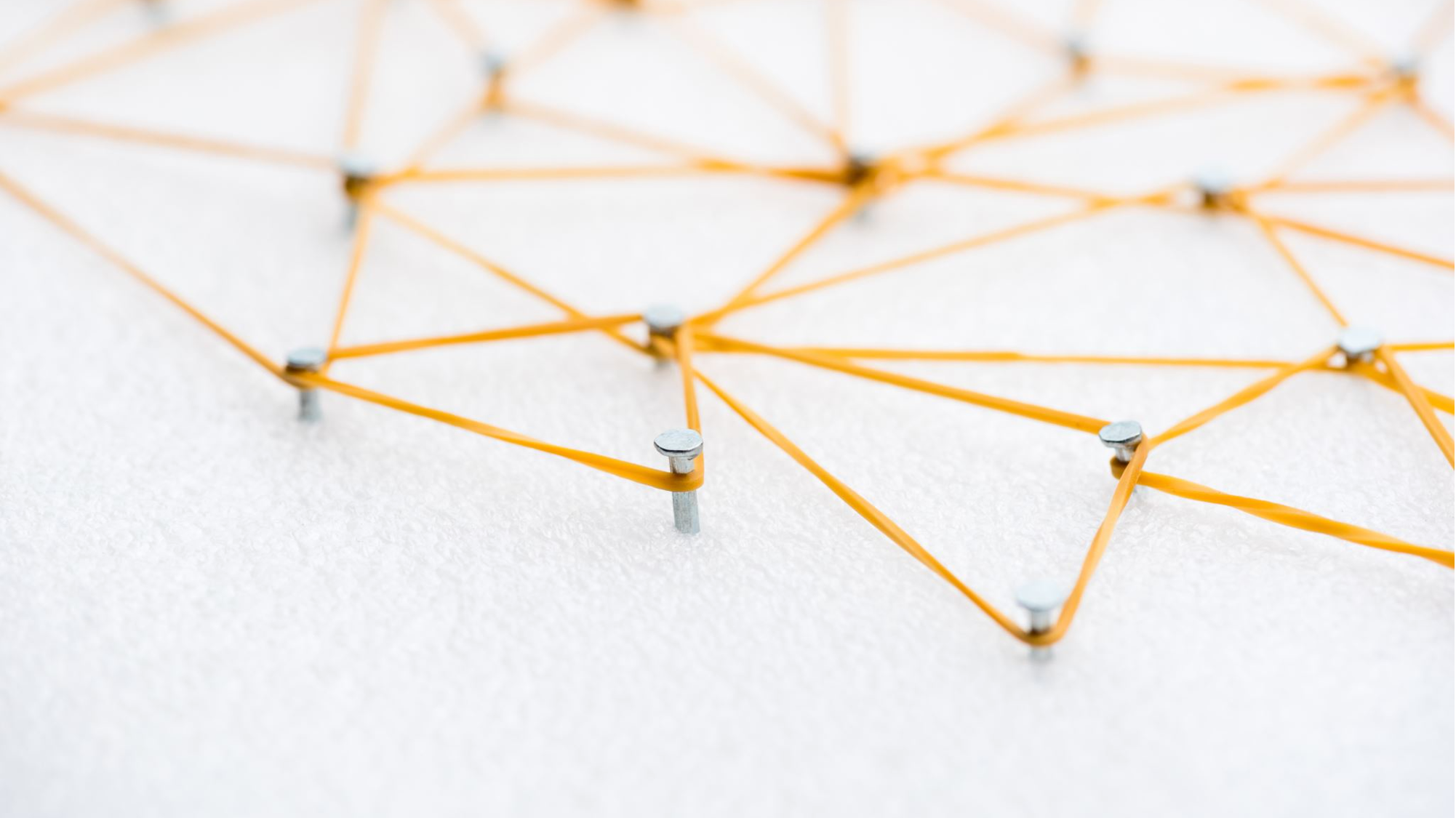 Network diagram using nails and rubber bands