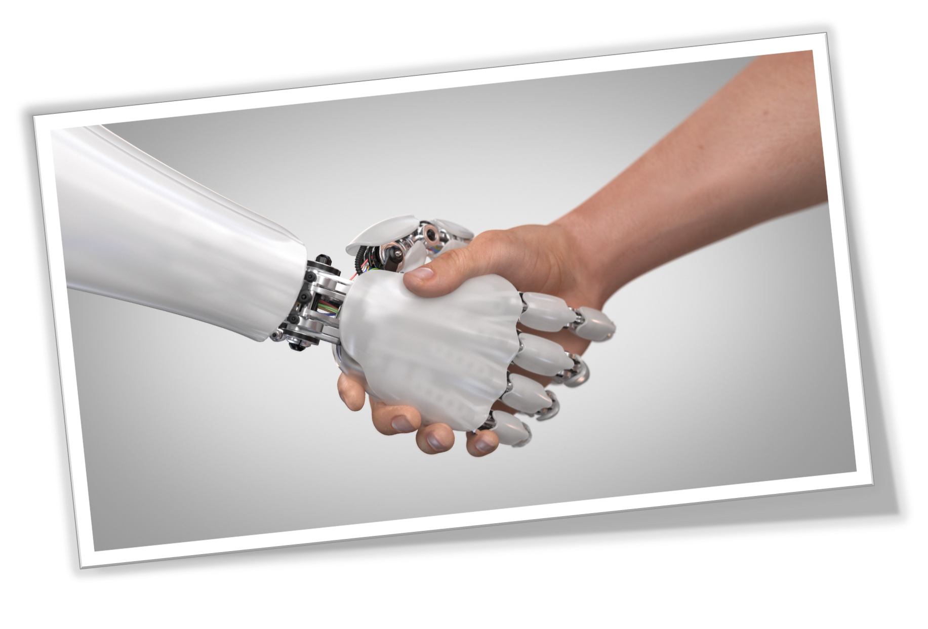 Robot arm and human arm shaking hands