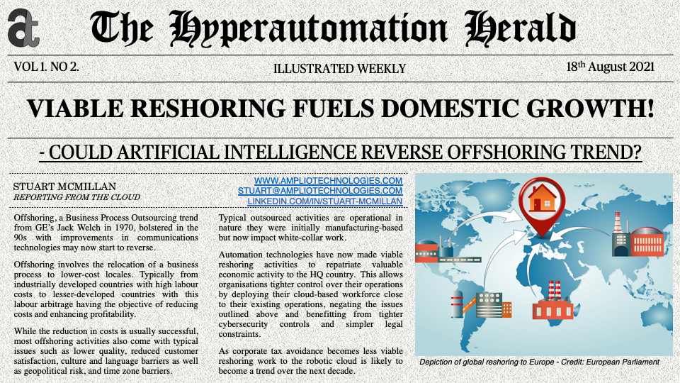 Newspaper Headline: Viable restoring Fuels Growth - Could Artificial Intelligence Reverse Offshoring Trend?