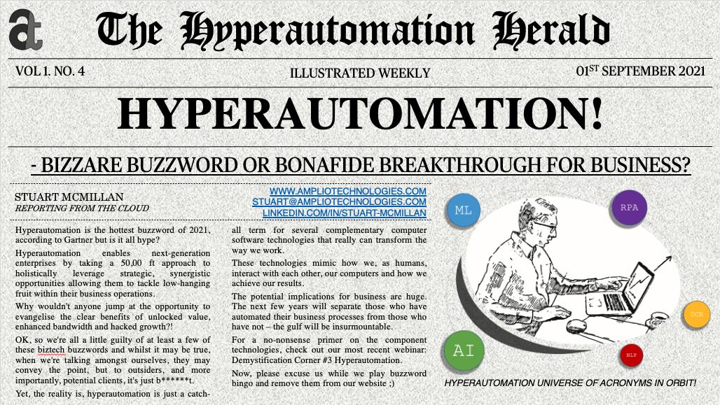 Newspaper Article: Hyperautomation - Bizarre Buzzword or Bonafide Business Breakthrough?