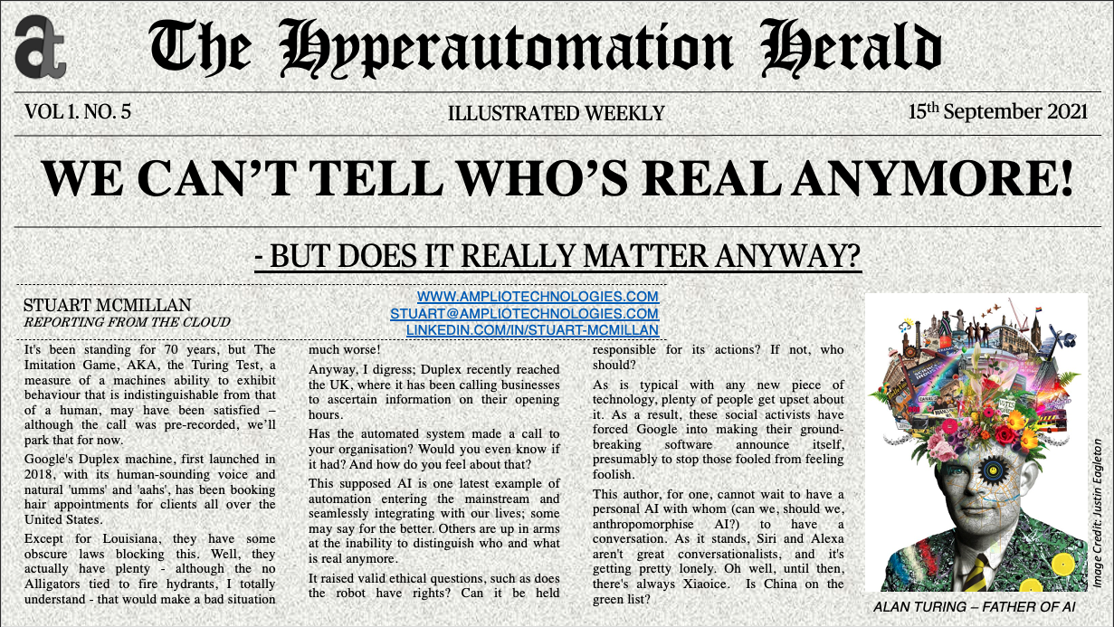 Hyperautomation Herald Newspaper front page with headline:  WE CAN'T TELL WHO'S REAL ANYMORE! - BUT DOES IT REALLY MATTER ANYWAY?