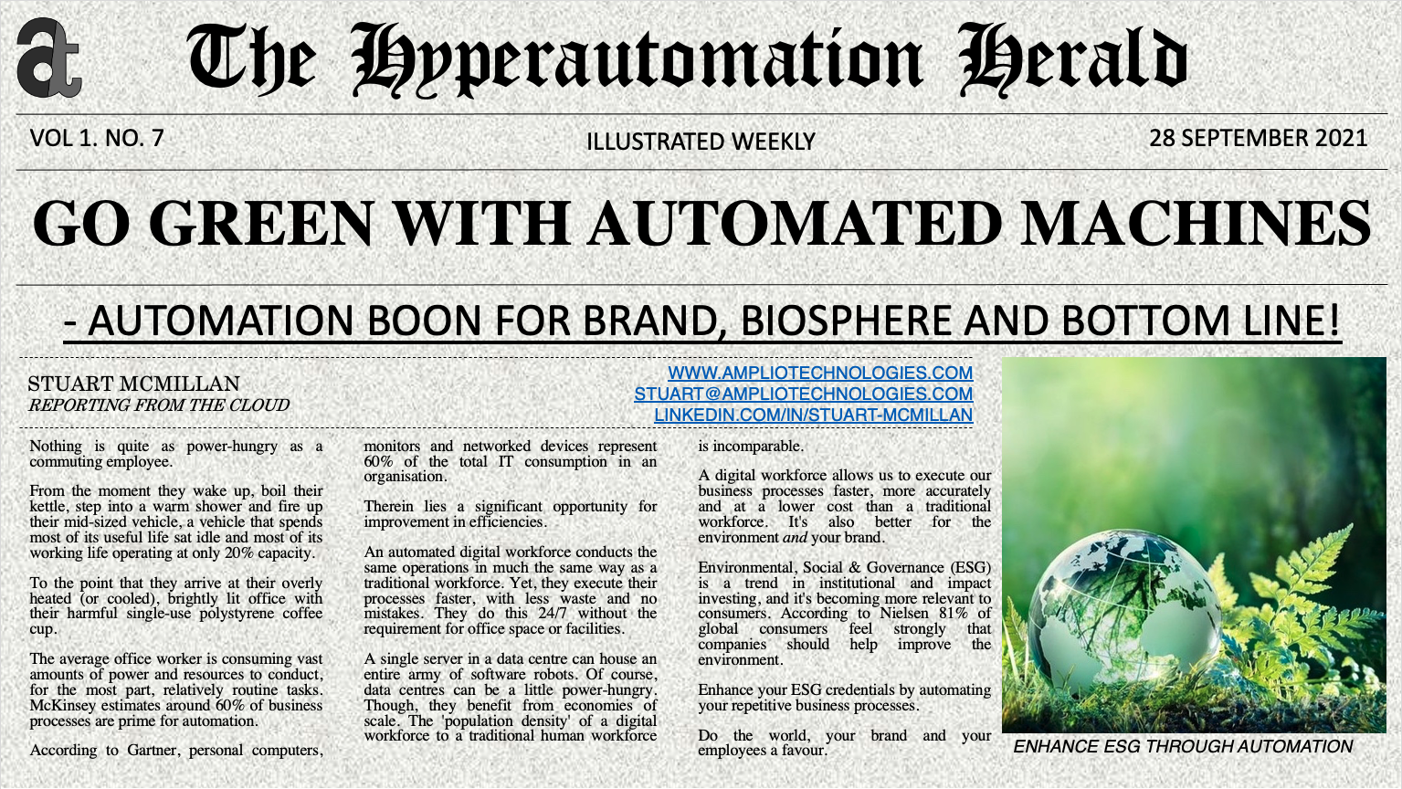Hyperautomation Herald: Go Green with Automated Machines - Automation Boon for Brand, Biosphere and Bottom Line!