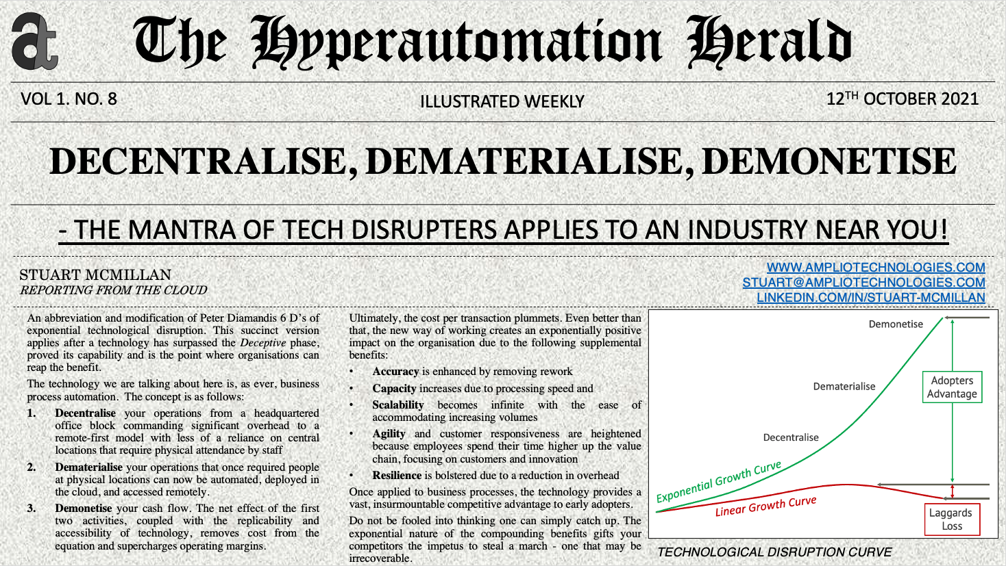 Hyperautomation Herald: Decentralise, Dematerialise, Demonetise - The Mantra of tech Disrupters Applies to an Industry Near You!
