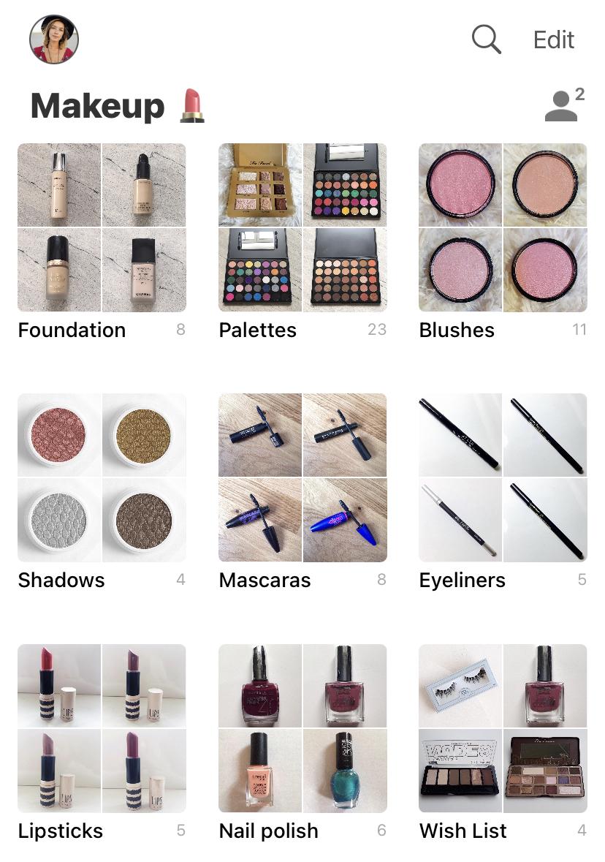 Screenshot of Peeknest app with makeup inventory
