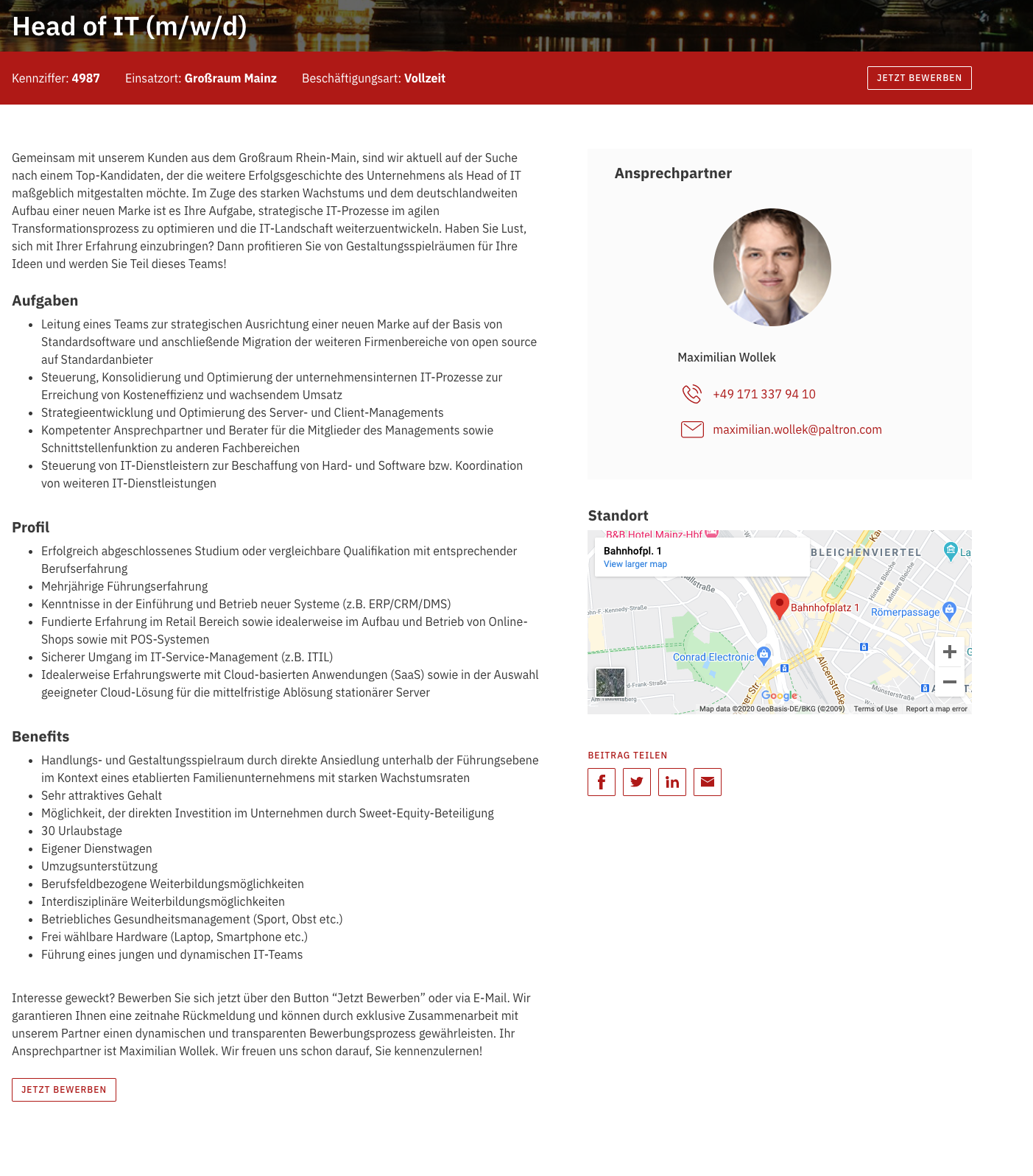 Example of a real job description on PALTRON's website