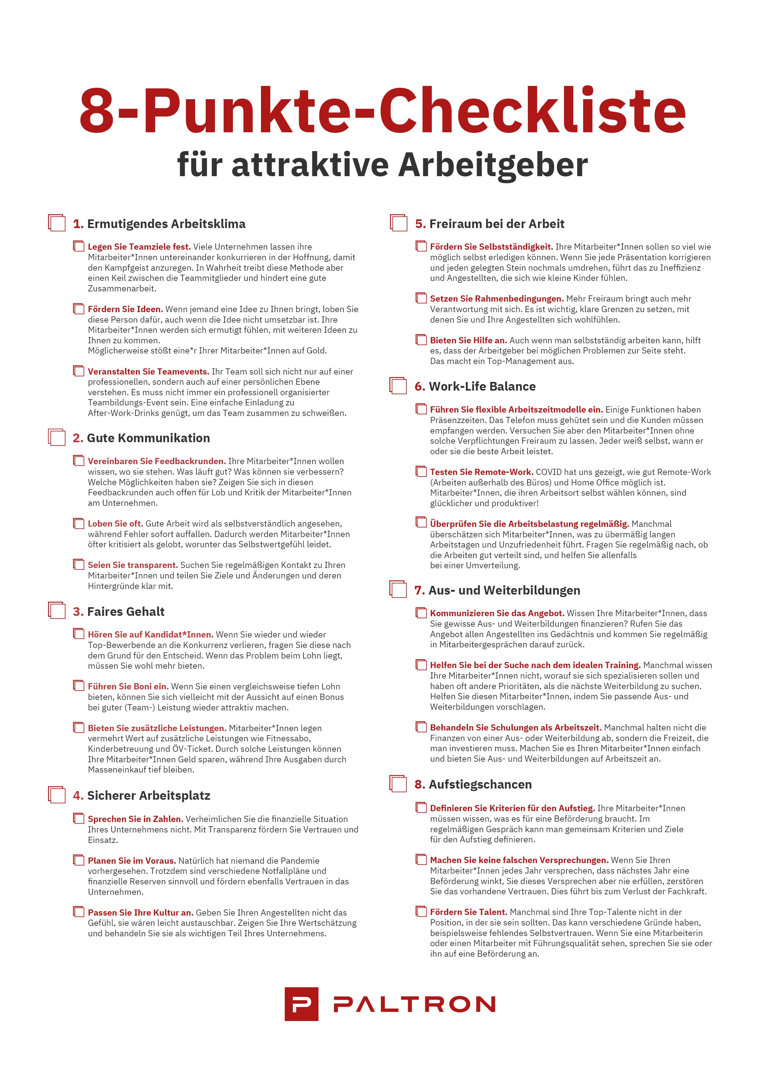 8-Punkte Checkliste für attraktive Arbeitgeber