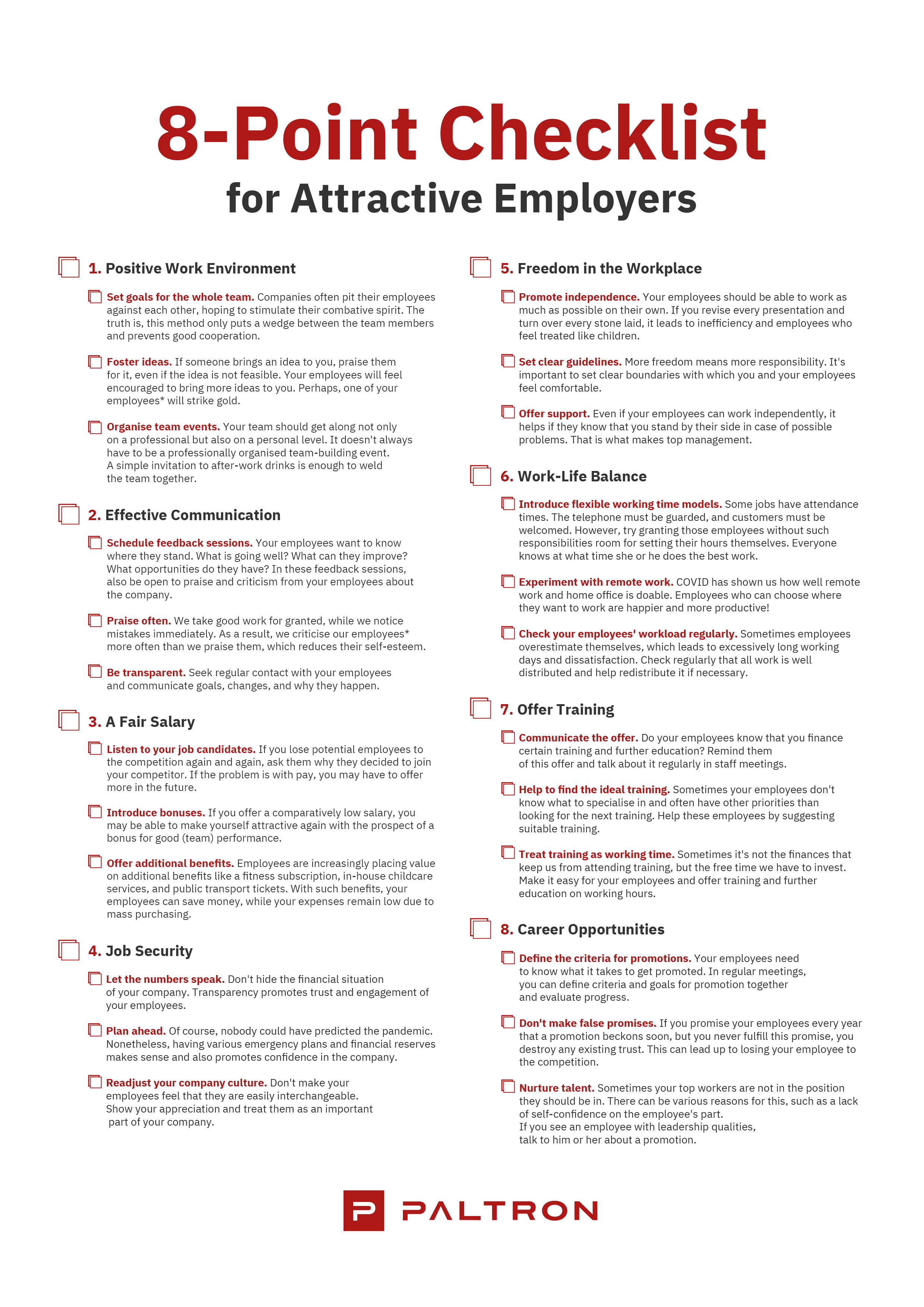 8-point checklist for attractive employers