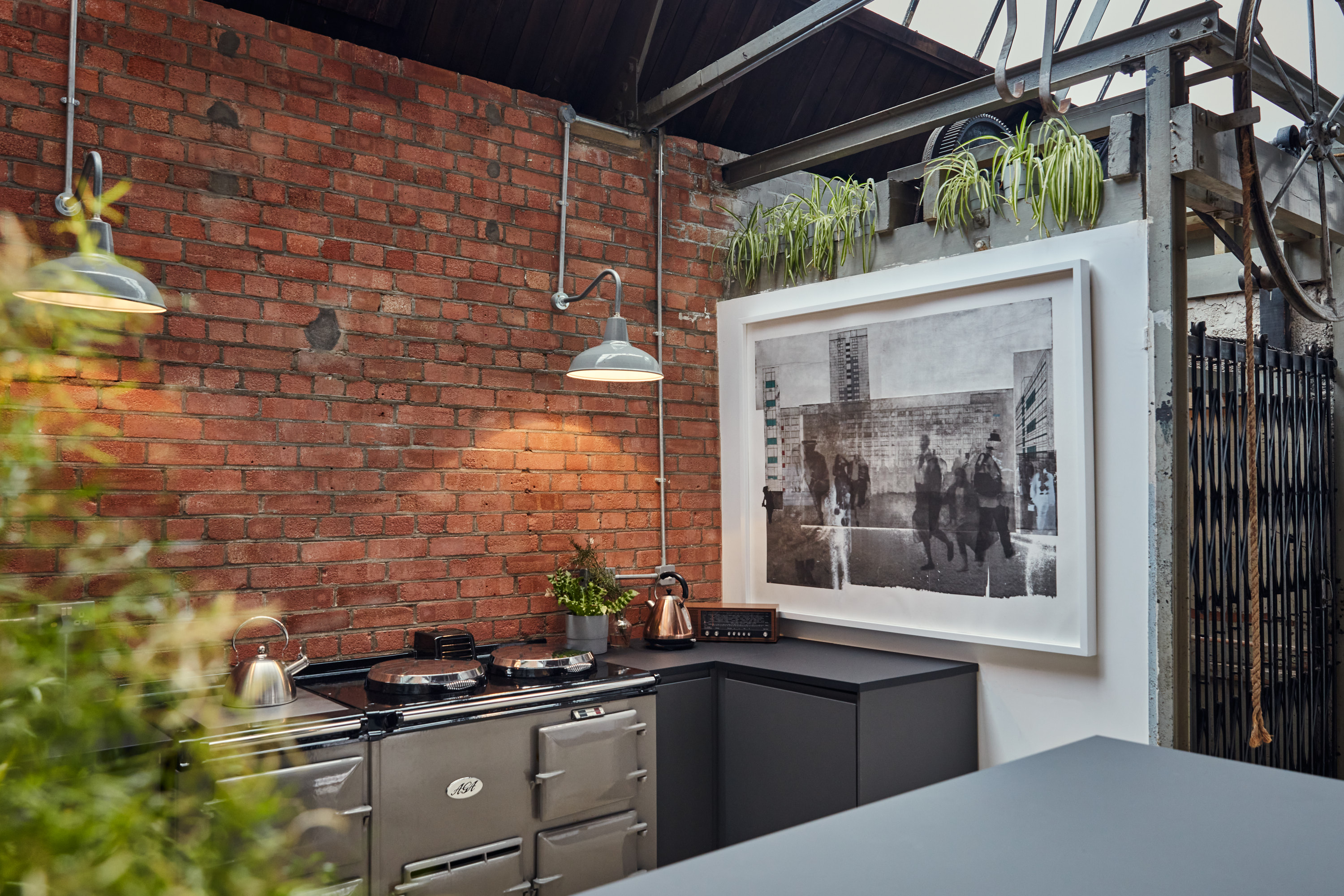 studio kitchen fitted with Aga oven