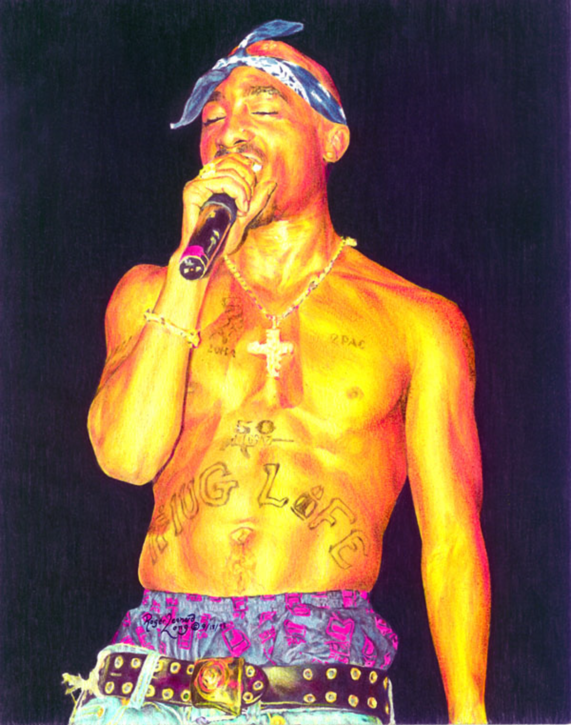 """My portrait of the late rapper was drawn because I wanted to capture him as performer at his craft. He was such an energetic and enigmatic person. Your signed print will be securely with a certificate of authenticity and ready to print. Note: This print is available in multiple sizes. To order a custom original see more info in the section of the website """"order a custom original."""""""