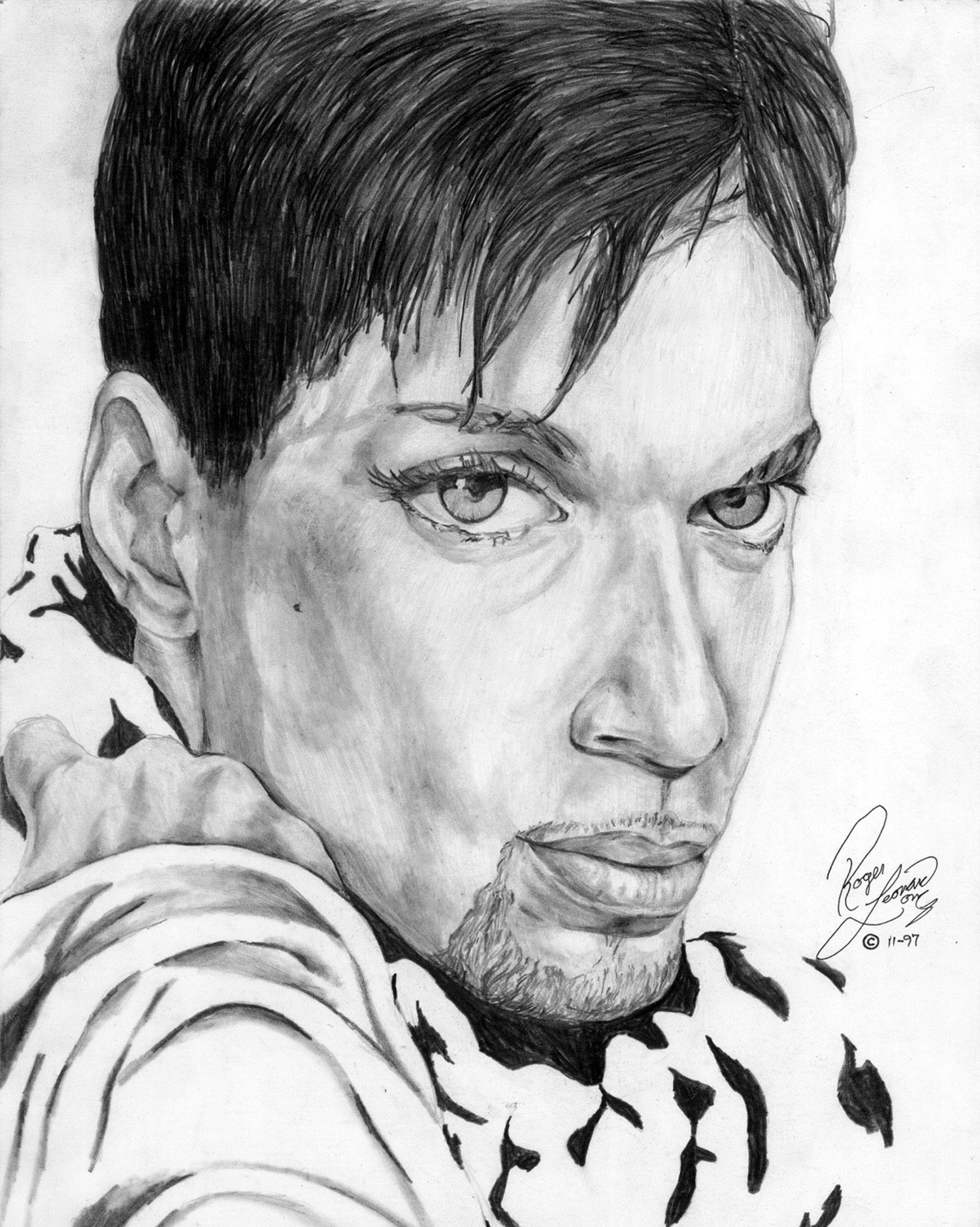 """Prince Fine Art Portrait Print """"Lovesexy'"""" by Roger Leonard Long Dimensions: """"11 X 14"""" (unframed) This is an exclusive print. It features my photo realistic portrait drawing of Prince. The original portrait was created with graphite It is part of my original collection of legendary cultural, musical figures. The print is delivered securely and ready for easy mounting with a certificate of authenticity. For more info about me and my custom originals, visit the page """"order a custom original."""" Thank you for visiting a purchasing!"""