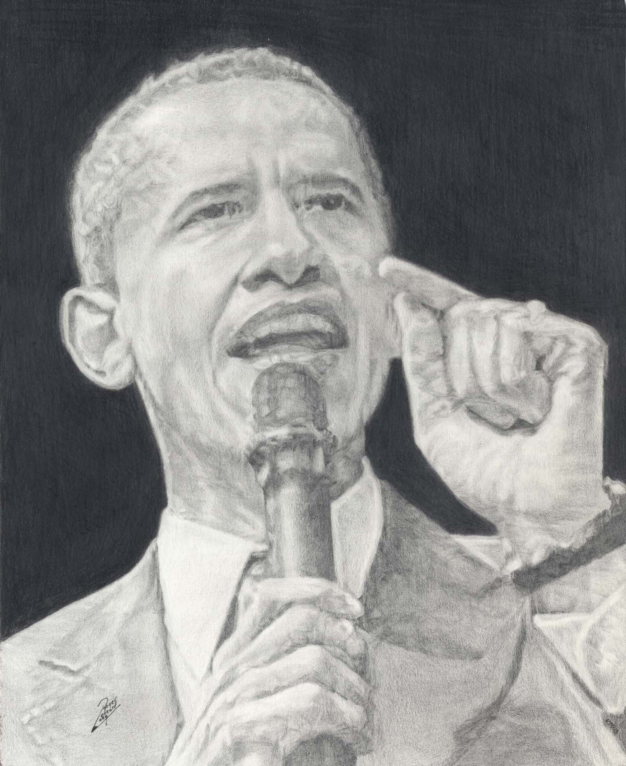 Yes We Can  This is a portrait of former President, Barack Obama. Your signed print is available in multiple sizes and will be delivered with a certificate of authenticity and ready to frame. Thank you for collecting and viewing. Join my mailing list for new portrait print releases and more!