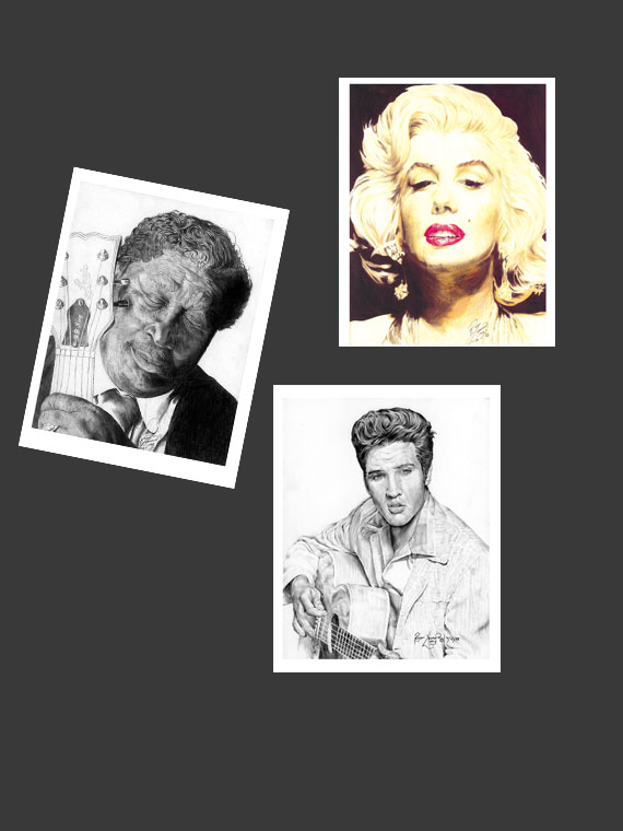 """Unique fine art greeting cards with matching envelopes featuring the original portrait artwork of Roger Leonard Long. Custom image outside and blank inside to include your personalized message. This is a triple pack of one of each card: Cards feature: - """"Feeling the Blues"""" portrait of B. B. King by artist Roger Leonard Long - """"Some Like it Hot"""" portrait of Marilyn Monroe by artist Roger Leonard Long - """"King of Rock n' Roll"""" portrait of Elvis by artist Roger Leonard Long - 5"""" x 7"""" envelope for easy use - High quality white card stock paper - Individual cellophane wrap"""