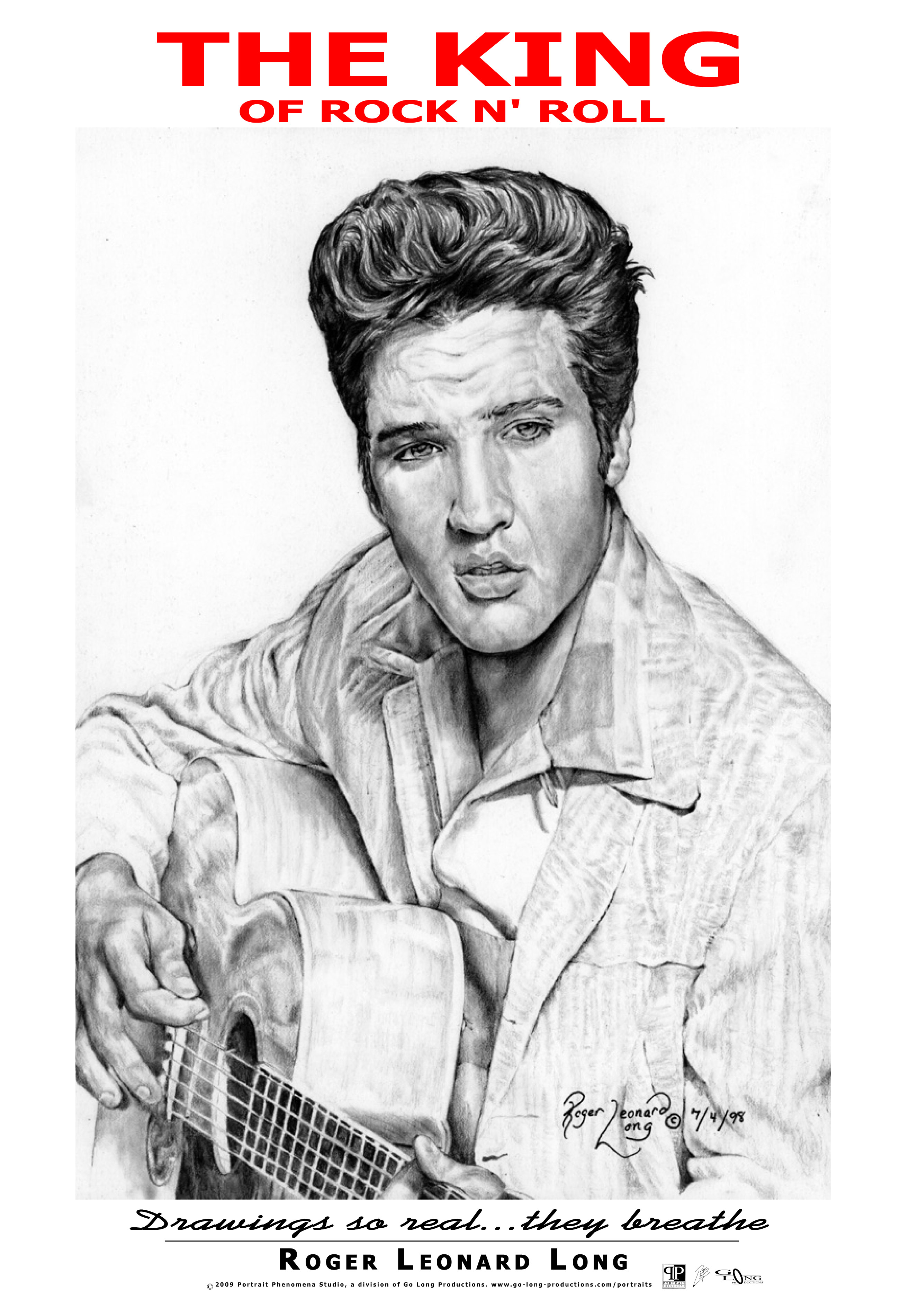 """This is an exclusive original poster from Roger Leonard Long. It features his photo realistic portrait drawing of Elvis. The original portrait was created with pencil. It is part of the artist's original collection of legendary cultural, musical figures. This high-quality poster captures the realism of that original work and of the man who is known today as the """"king of rock n' roll."""" The poster is delivered securely and ready for easy framing/mounting."""