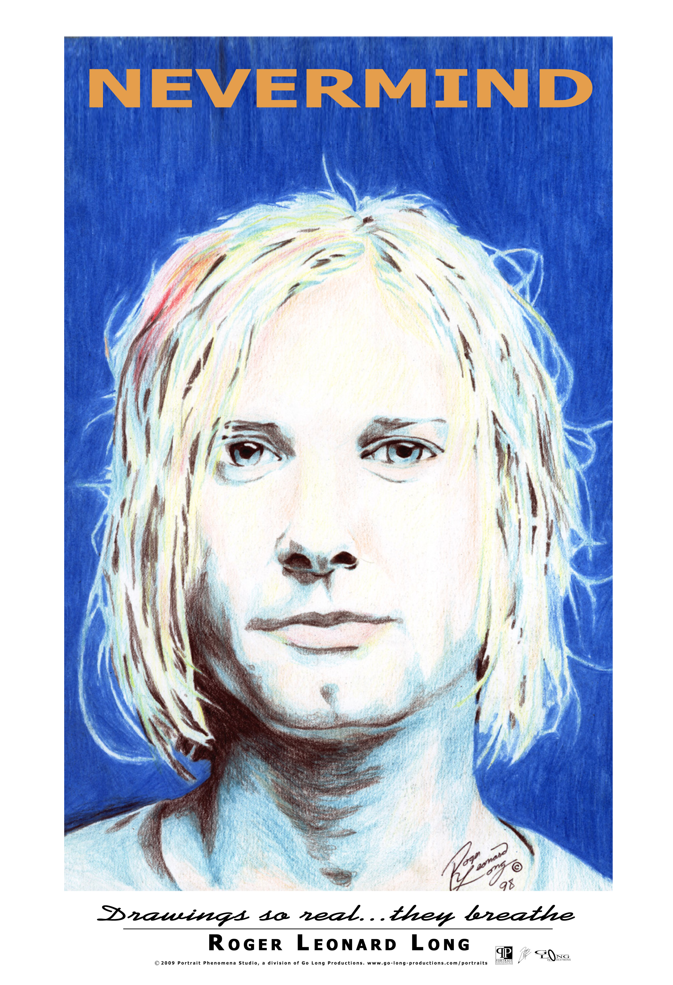 """This is an exclusive original poster from Roger Leonard Long. It features his photo realistic portrait drawing of Kurt Cobain. Long is a photo realist portraitist in MS, USA and enjoy the distinction of being recognized as among Marquis' Who's Who in the World. The name of his studio is Portrait Phenomena (est. 1998) creating """"drawings so real they breathe."""" Your poster will be securely delivered ready for easy framing/mounting."""