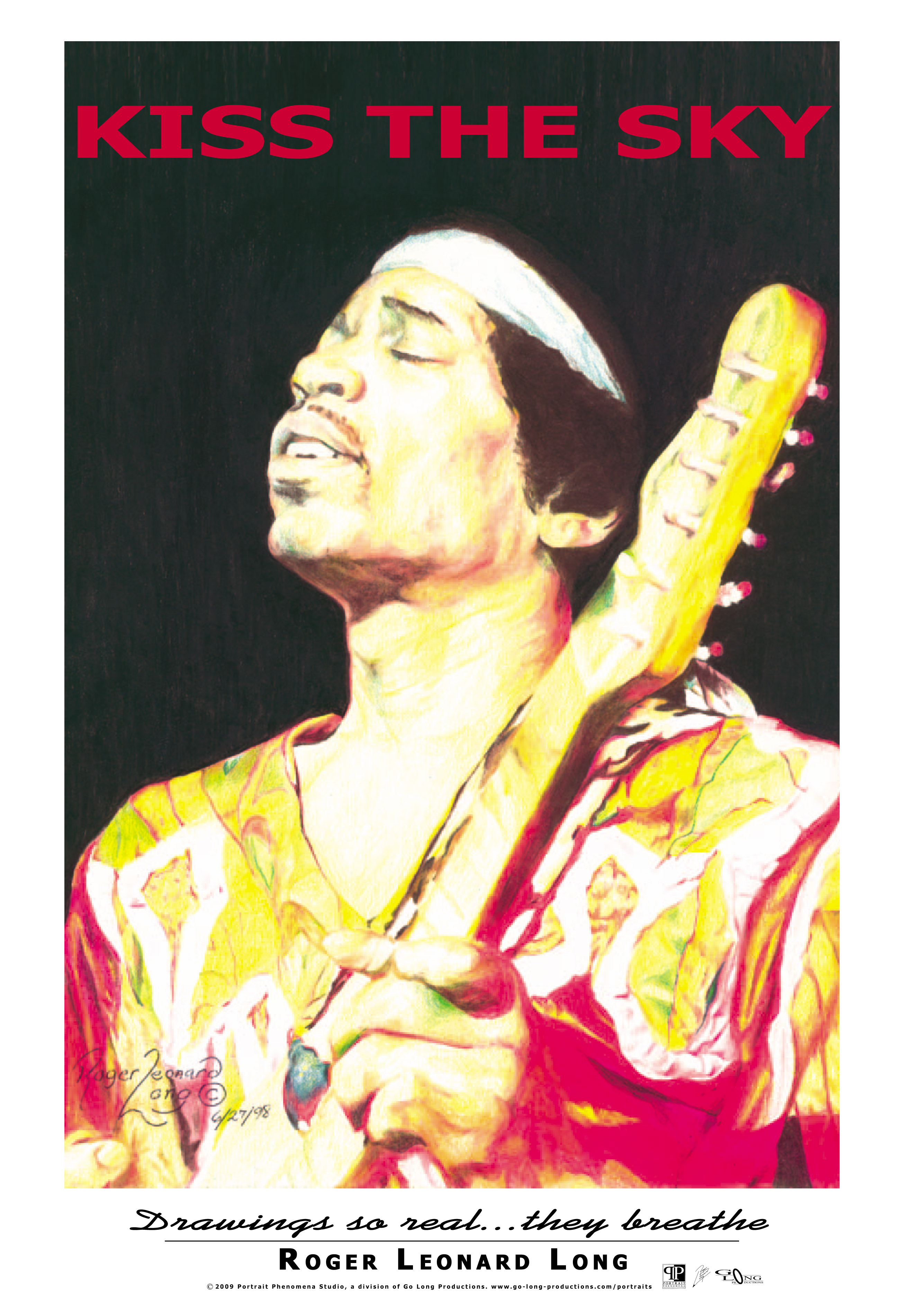 This is an exclusive original poster from Roger Leonard Long. It features his photo realistic portrait drawing of Jimi Hendrix. The original portrait was created with color pencil. This high-quality poster captures the realism of that original work. Your poster will be delivered shrink-wrapped and ready for easy mounting/framing.