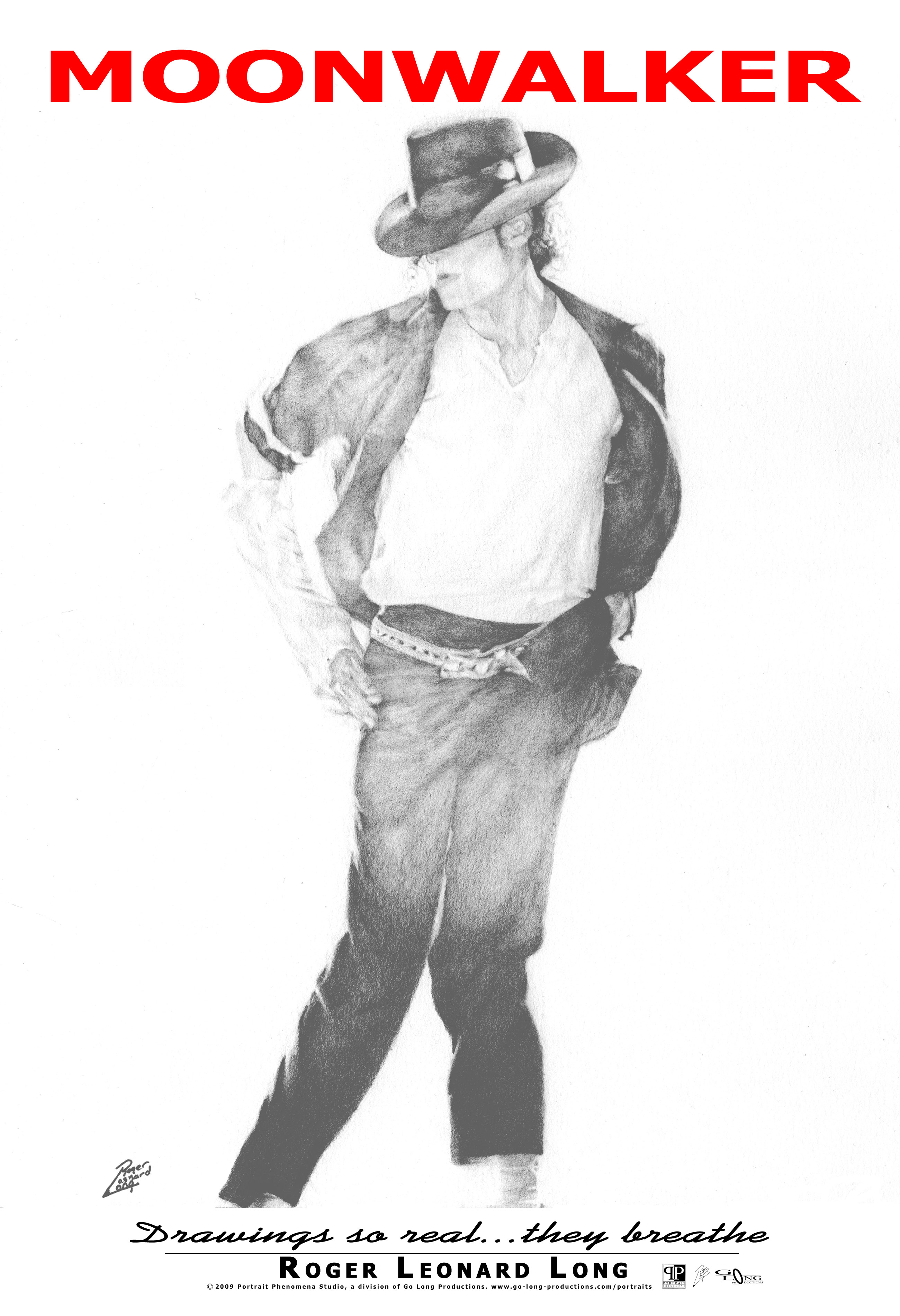 This is an exclusive original poster from Roger Leonard Long. It features his photo realistic portrait drawing of Michael Jackson. The original portrait was created in graphite. This high-quality poster captures the realism of that original work. Your poster is delivered ready for easy mounting/framing.