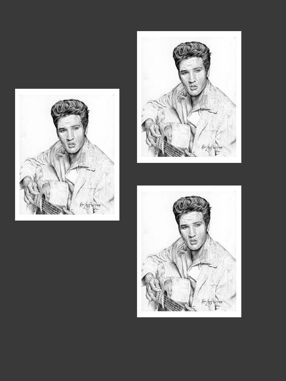"Unique fine art greeting cards with matching envelopes featuring the original portrait artwork of Roger Leonard Long. Custom image outside and blank inside to include your personalized message. It contains three of the same card. Cards features: - Original ""Are You Lonesome Tonight?"" portrait of Elvis by artist Roger Leonard Long - 5"" x 7"" envelope for easy use - High quality white card stock paper - Individual cellophane wrap"