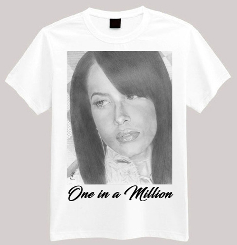 "Aaliyah Portrait Art T-shirt/Graphic Tee ""One In a Million"" This high quality original t-shirt is truly wearable art: - 4.5 oz., 100% preshrunk ring spun cotton - 90% cotton 10% polyester - ¾"" rib knit collar - Double-needle stitched sleeves and bottom hem Available in sizes XS-2XL"