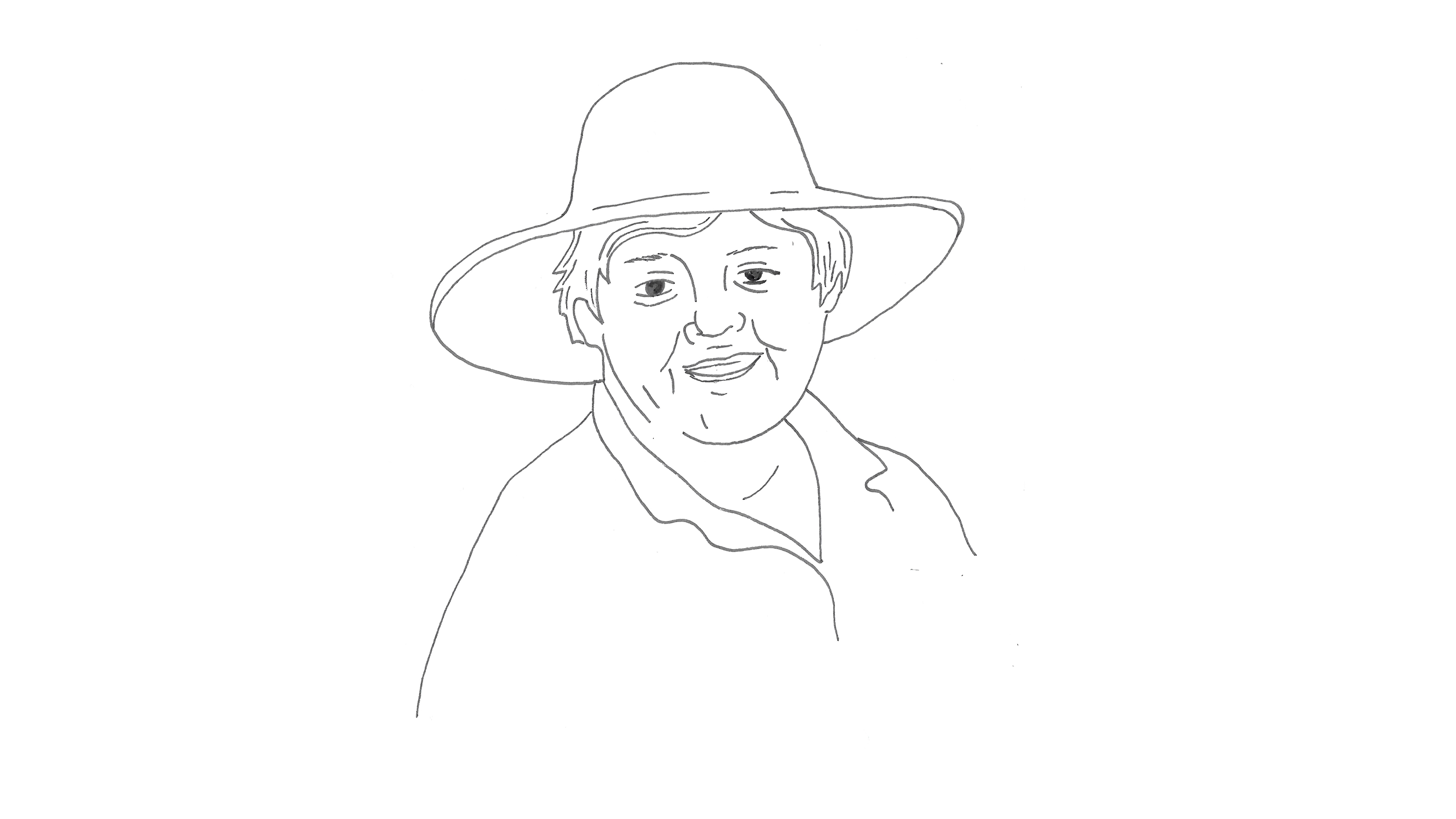 pencil drawing of actor with a hat