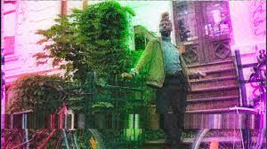a purple and green photo of a man standing on the stoop of a brownstone