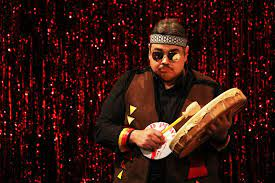 actor playing drum in Don't Feed the Indians at La MaMa