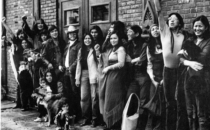 archival photo of native american performers standing in front of la mama