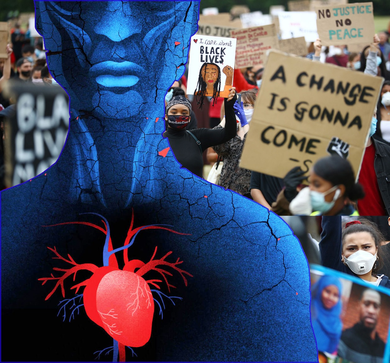 a blue figure with a bright red heart stands in front of a group of black lives matter protesters with a sign that says a change is gonna come