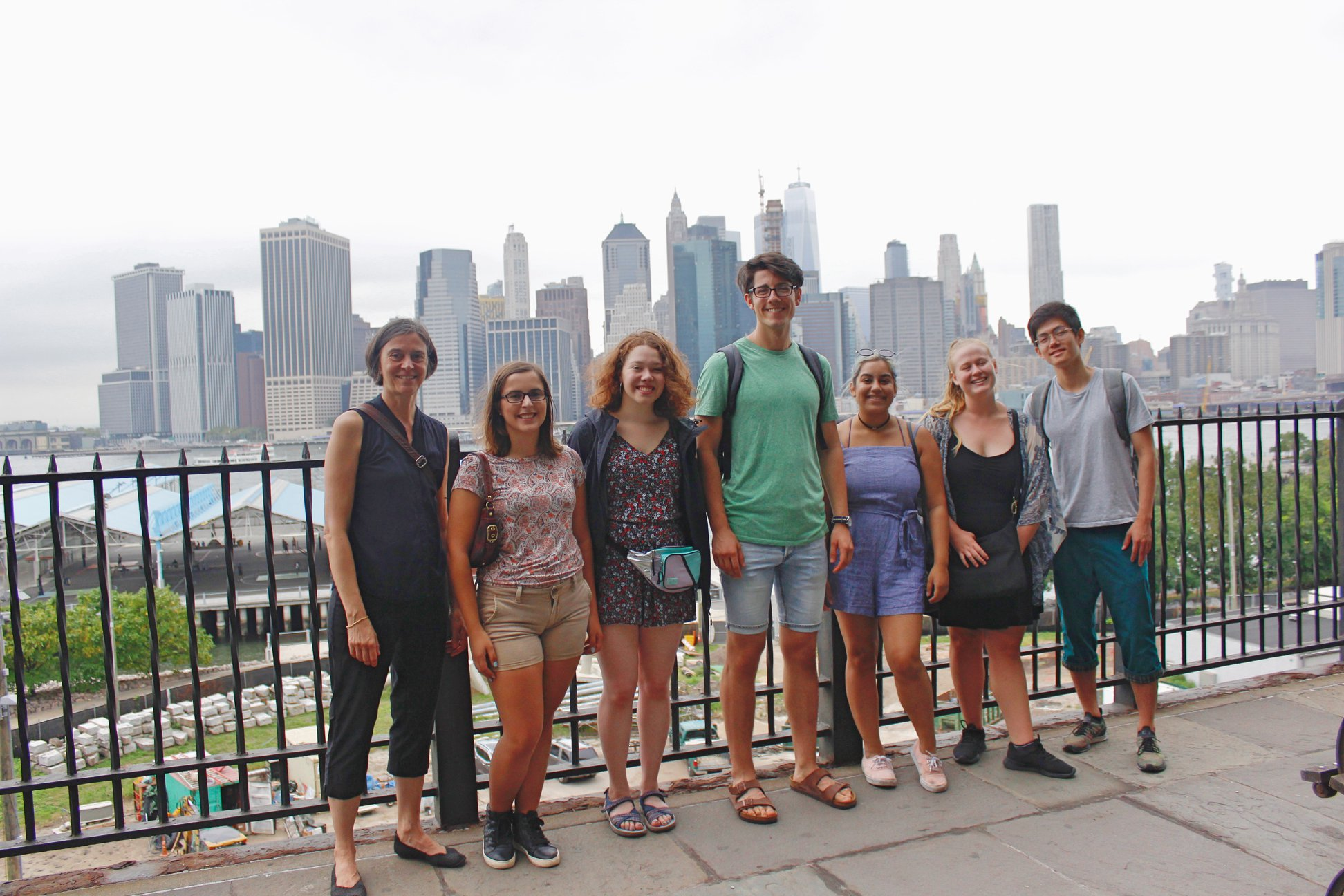 Trinity La MaMa students posing in a group outside in New York City
