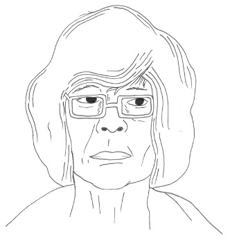 pencil sketch of a woman with glasses named esther for efflorescence