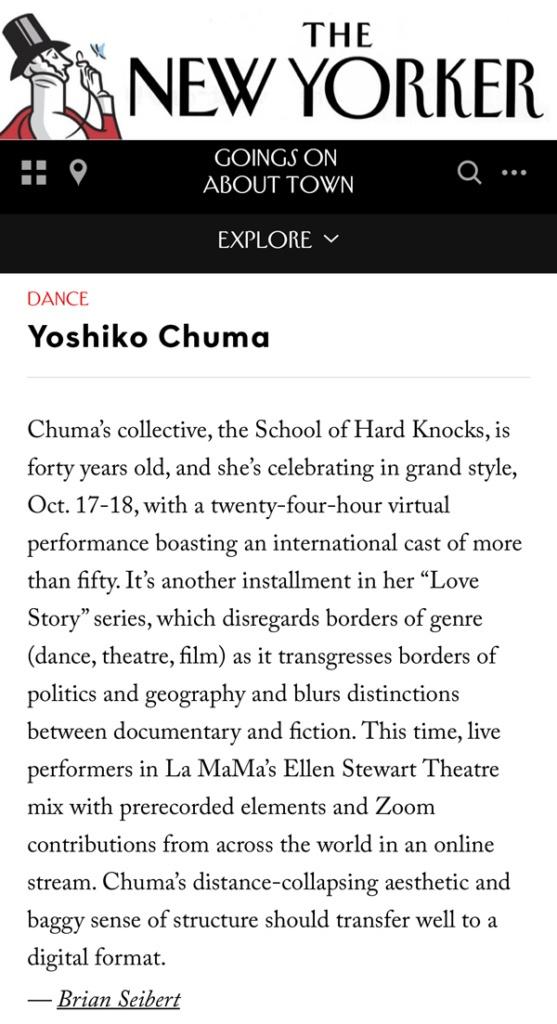 New Yorker listing for Yoshiko Chuma