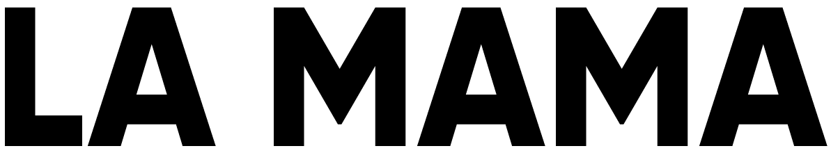 A black logo of La Mama Experimental Theater Club