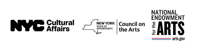 Logos of the New York City Department of Cultural Affairs, New York State of Opportunity, Council on the Arts, and the National Endowment for the Arts