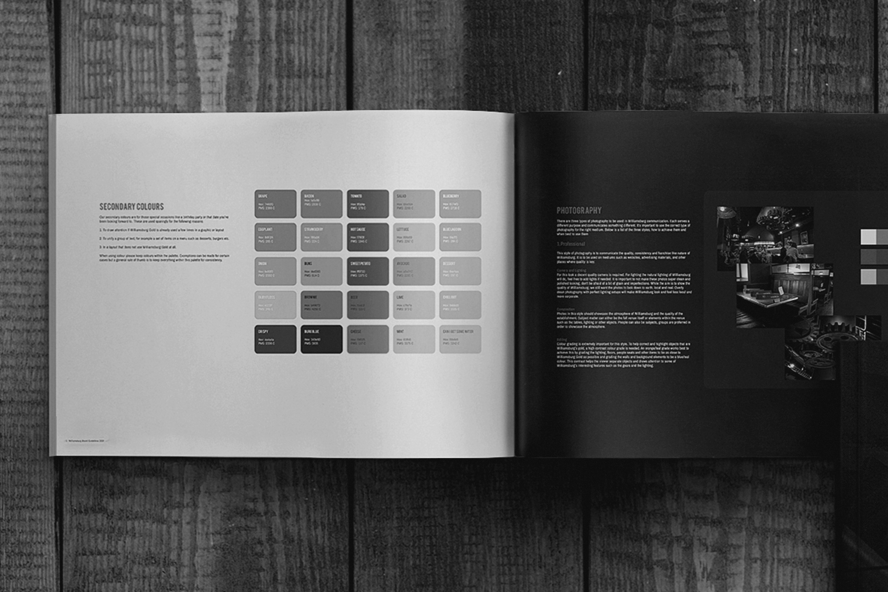 a brand guide booklet on a wooden table