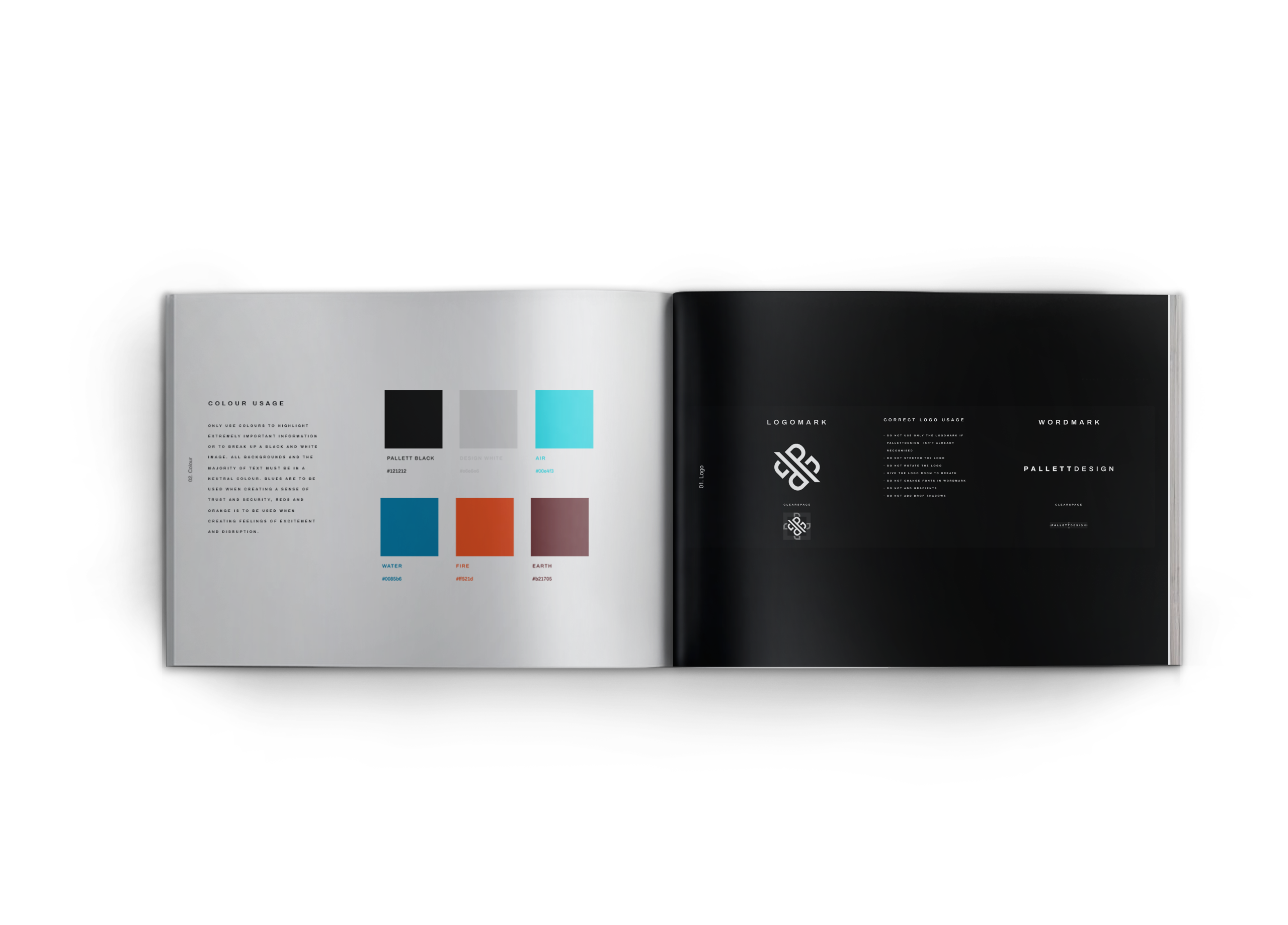 A booklet with a colour scheme and logo use guides on the pages