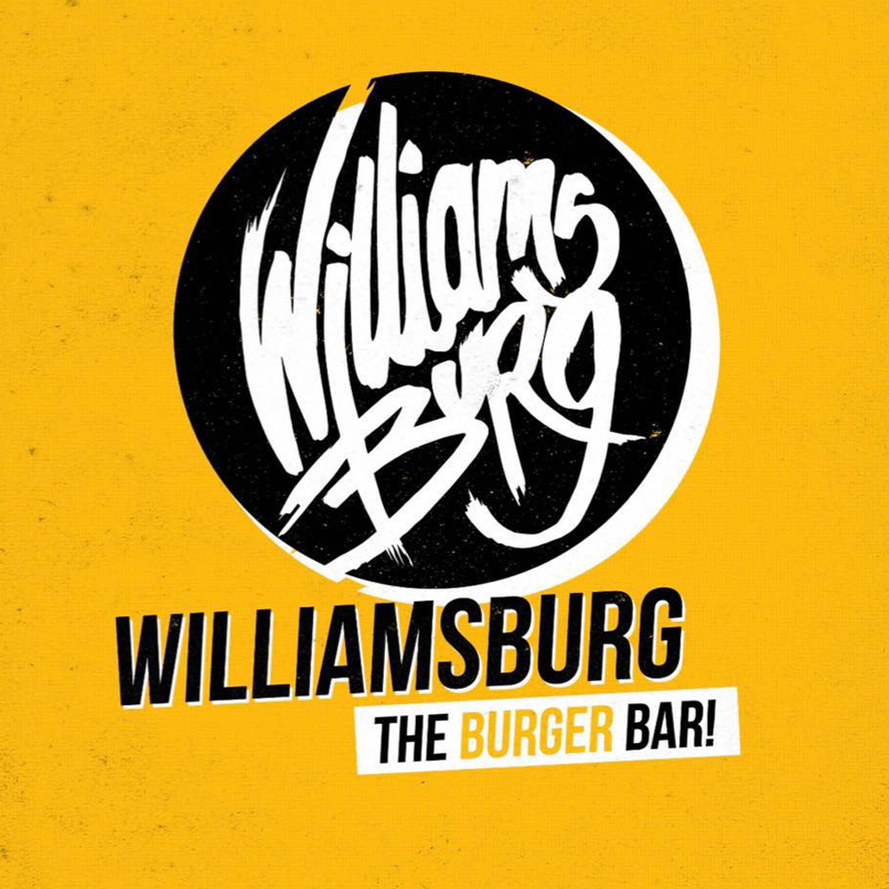 "Williamsburgs classic logo on a yellow background with ""The Burger Bar"" Written underneath"