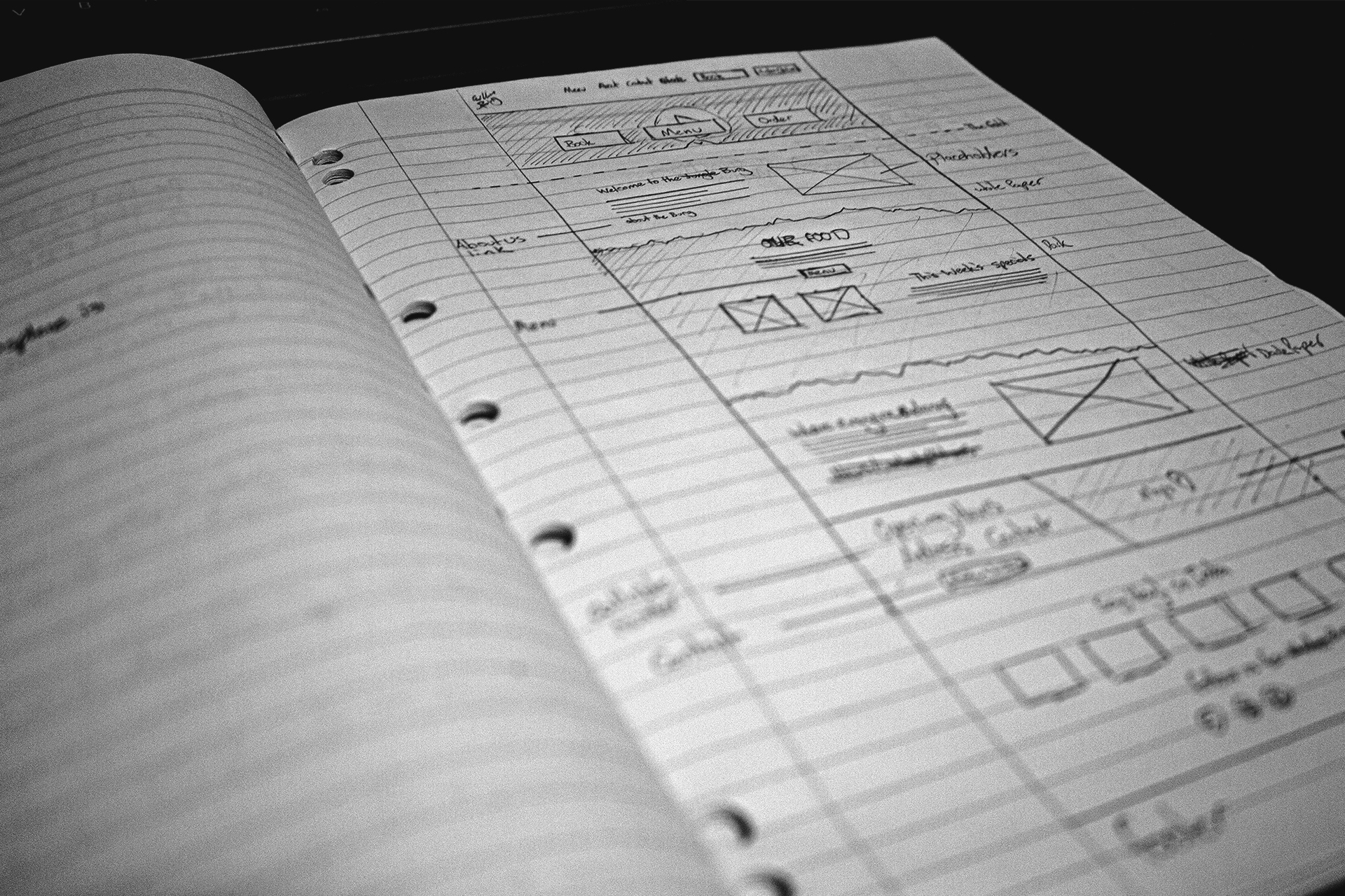 A notebook with a website wireframe drawn in it