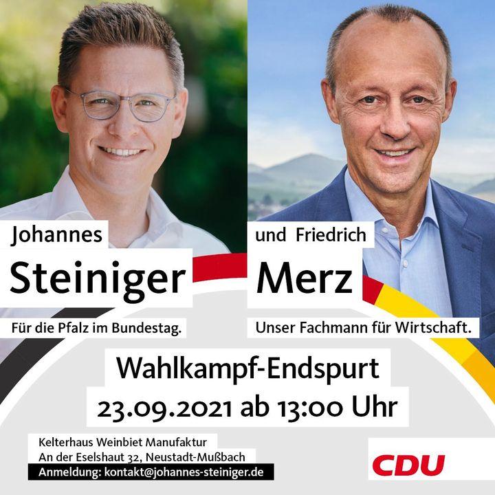 Wahlkampf-Endspurt: Noch knapp 3 Wochen bis zur Bundestagswahl! Ich freue mich, dass kurz vor dem Wahlsonntag Friedrich Merz zu mir in die Pfalz kommt!