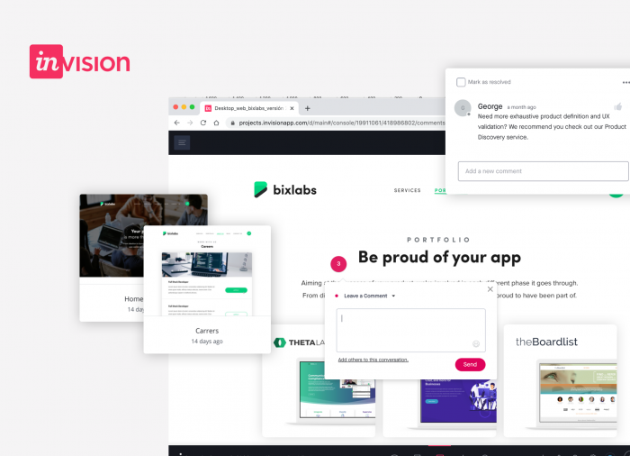 Invision, the most popular design tool for prototyping