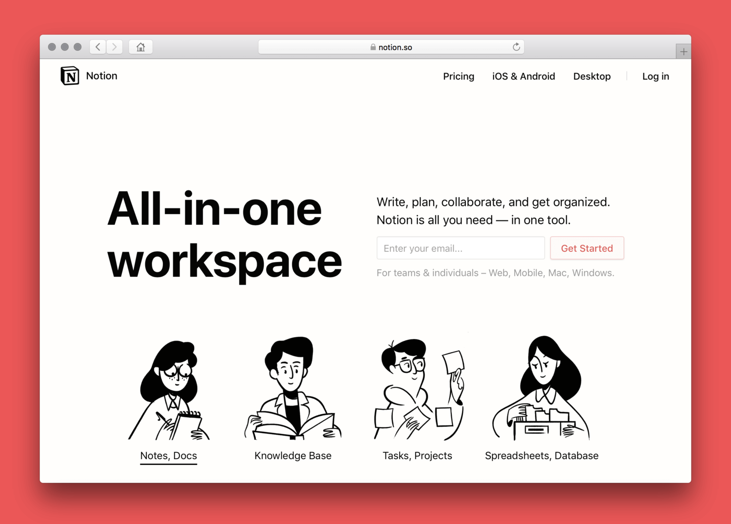 Notion, an all-in-one workspace for team collaboration, task management, and content creation