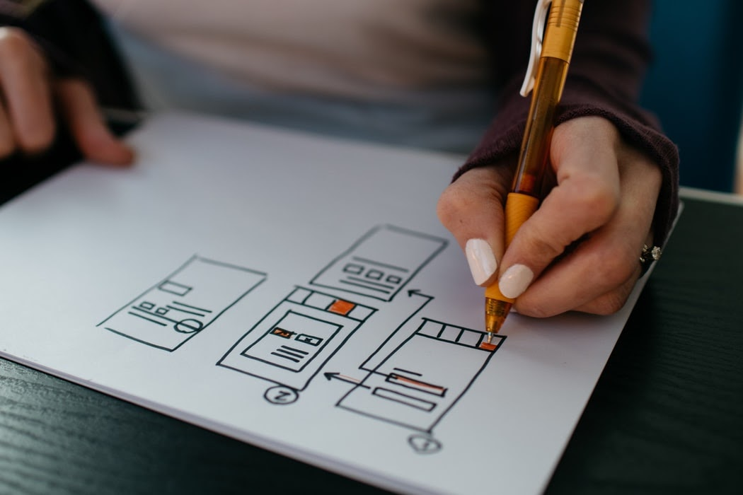 A woman working on a product wireframe during a product discovery session