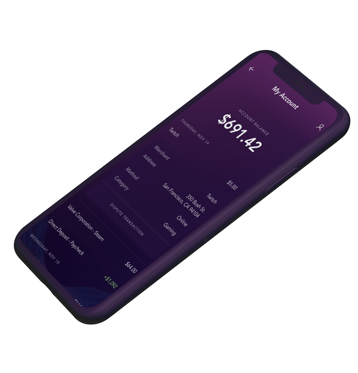 Phone with Astro app loaded showing transactions and account balance