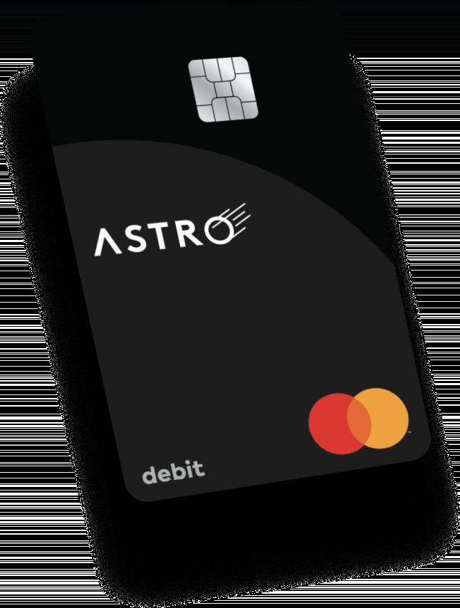 Black, vertical Astro debit card