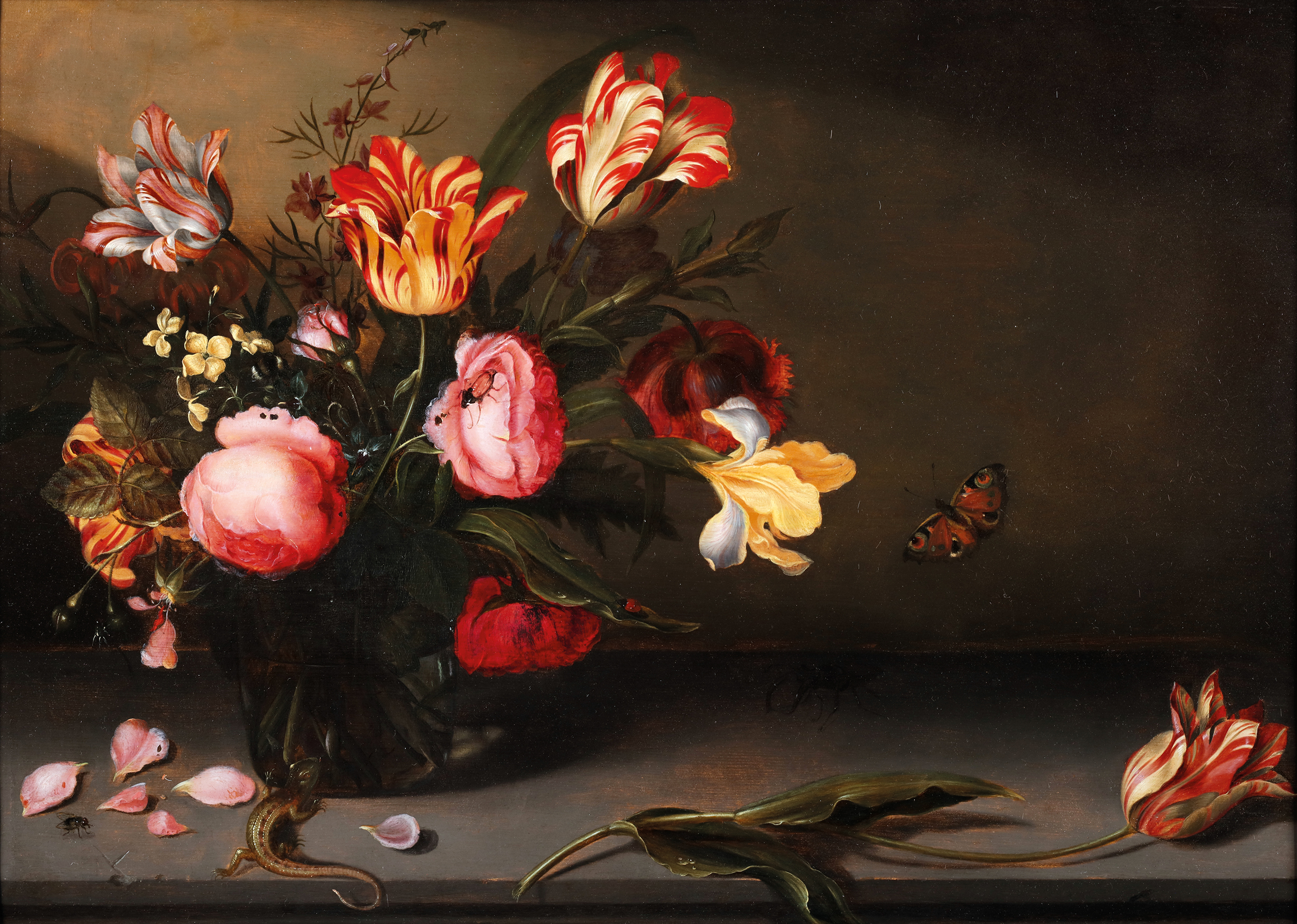 Still life with tulips & roses in a glass vase surrounded by insects, lizards, a fly and a big black beetle