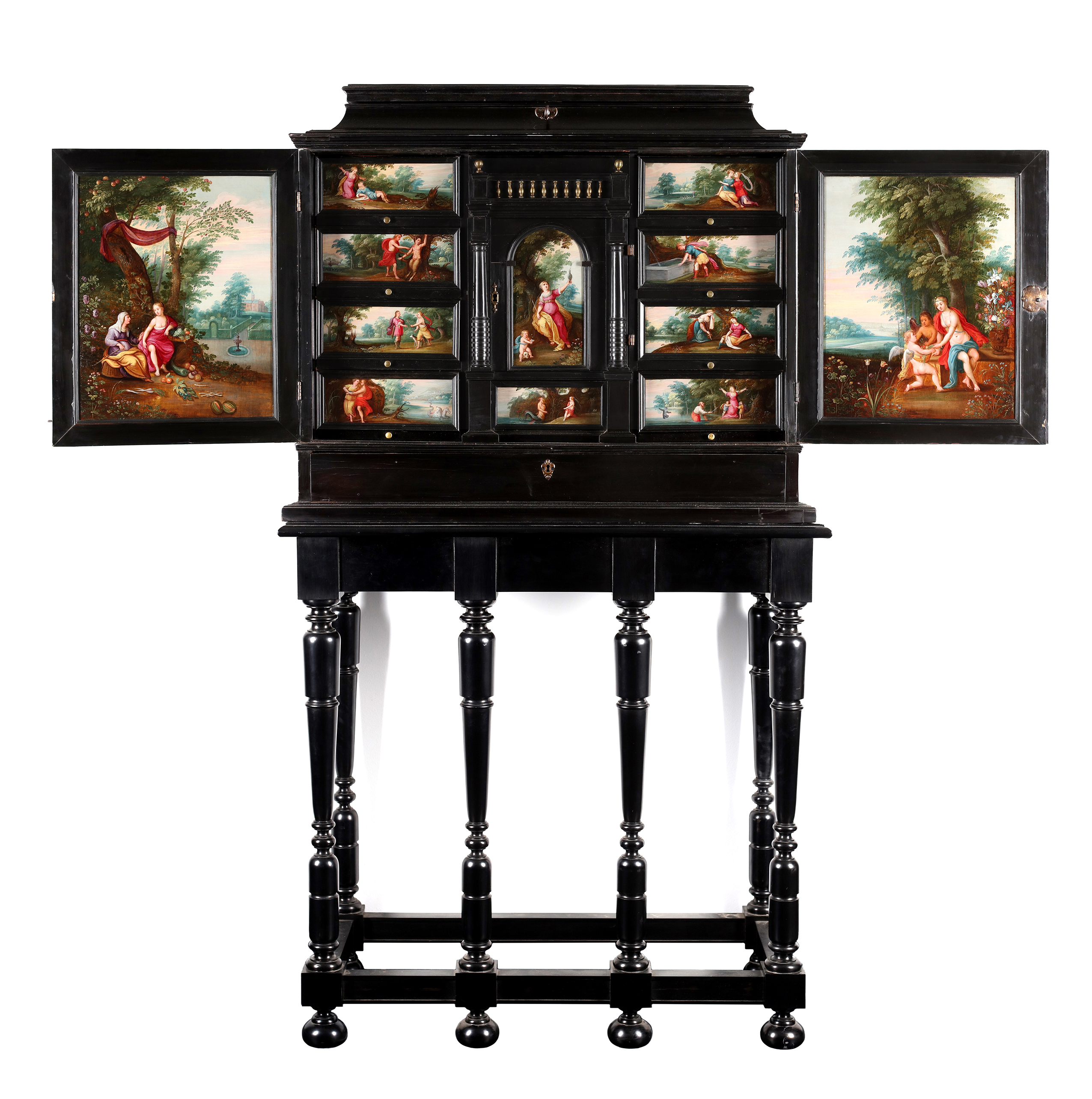 Cabinet on stand decorated with 13 paintings representing the metamorphoses of Ovidius