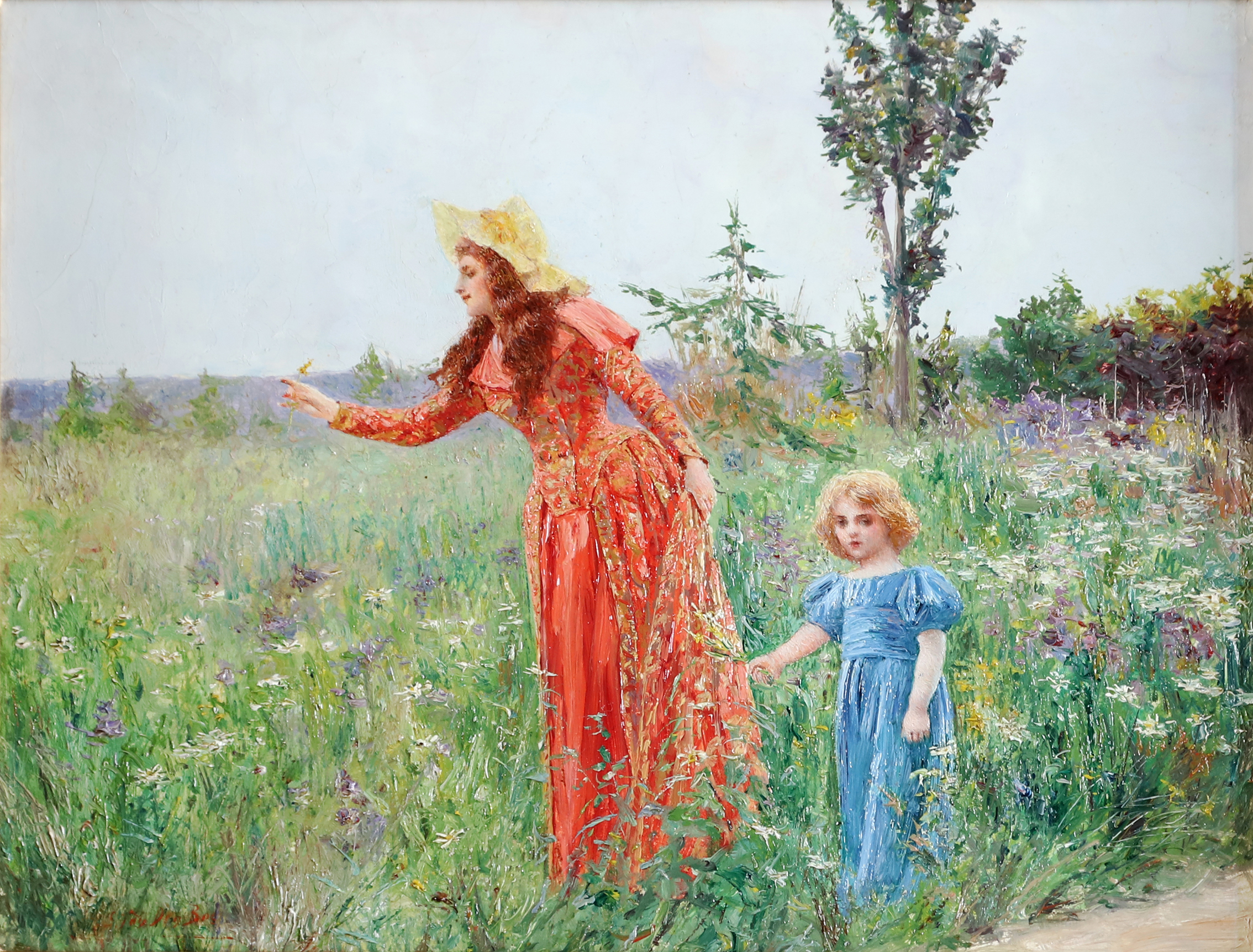 "Mother and child picking flowers ""Fleur des Champs"""