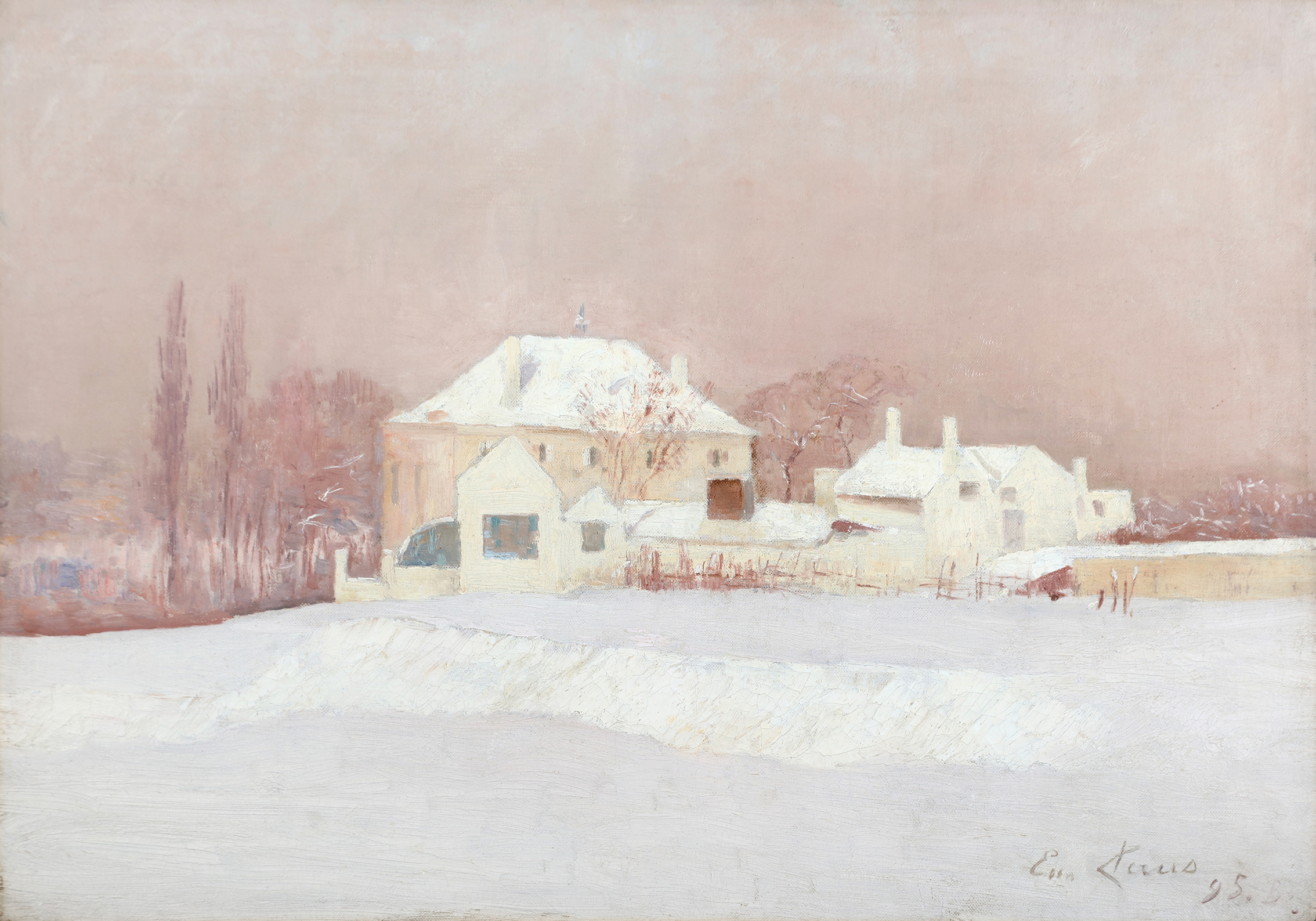 Houses in a layer of snow