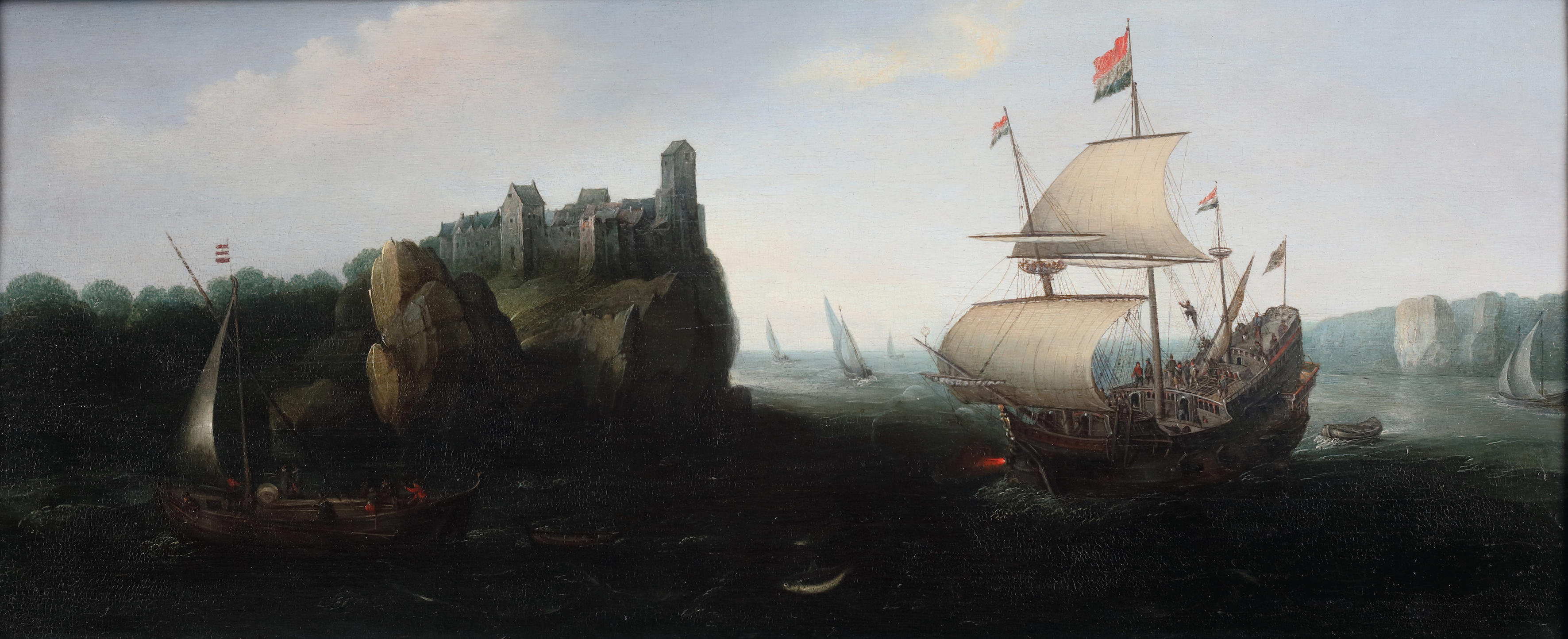 A Dutch fregat in front of a rocky coast landscape with a castle