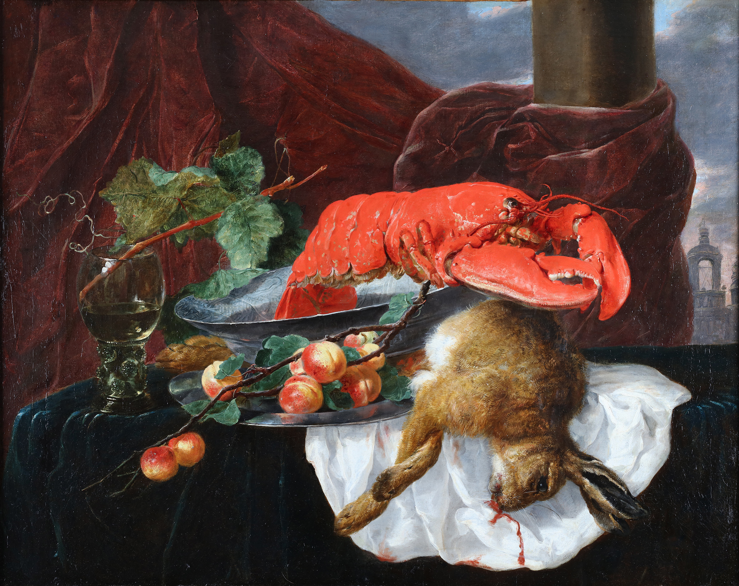 Still life with a lobster, dead hare, a roomer and peaches on a table ledge