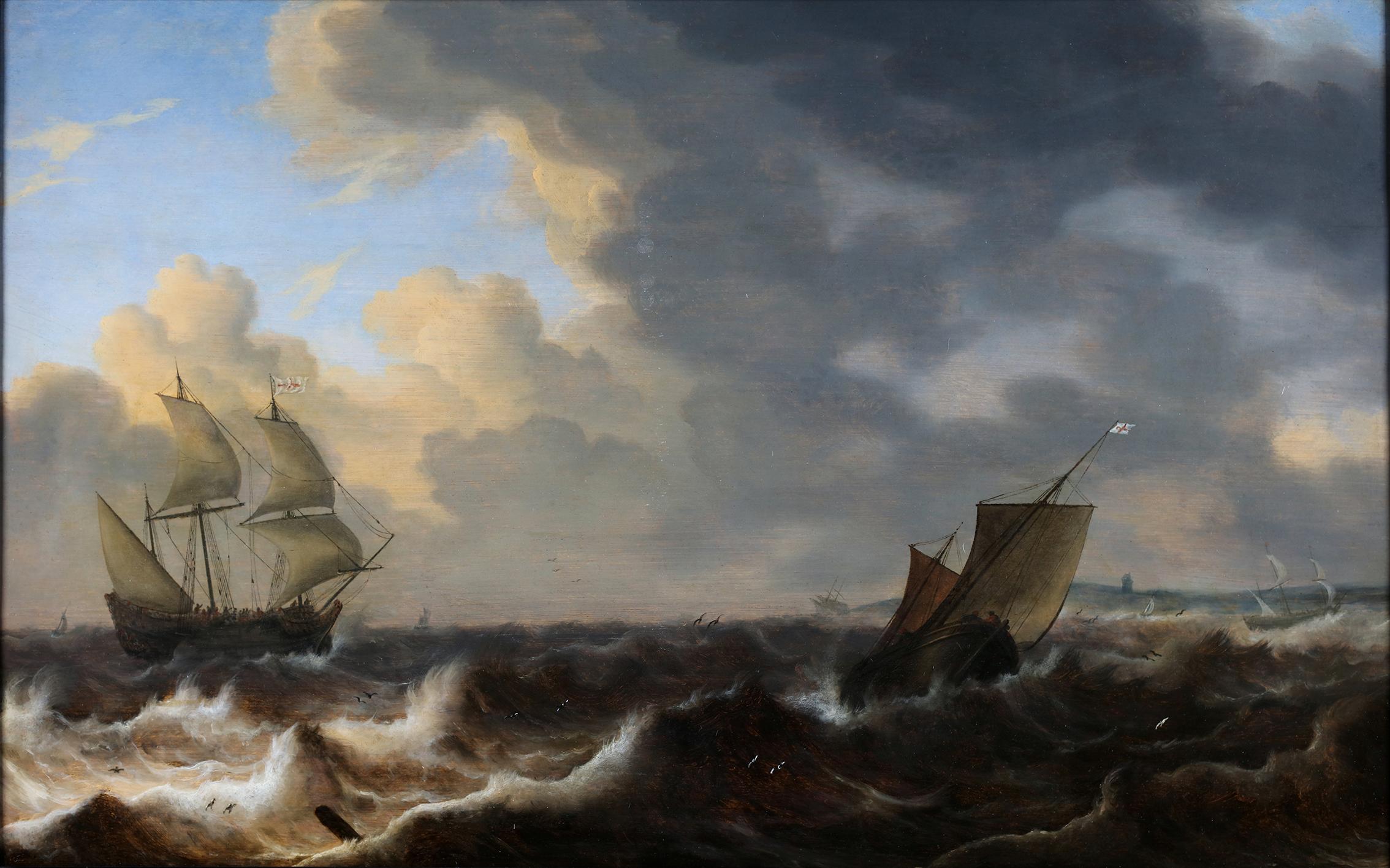 English ships in choppy water of the coast