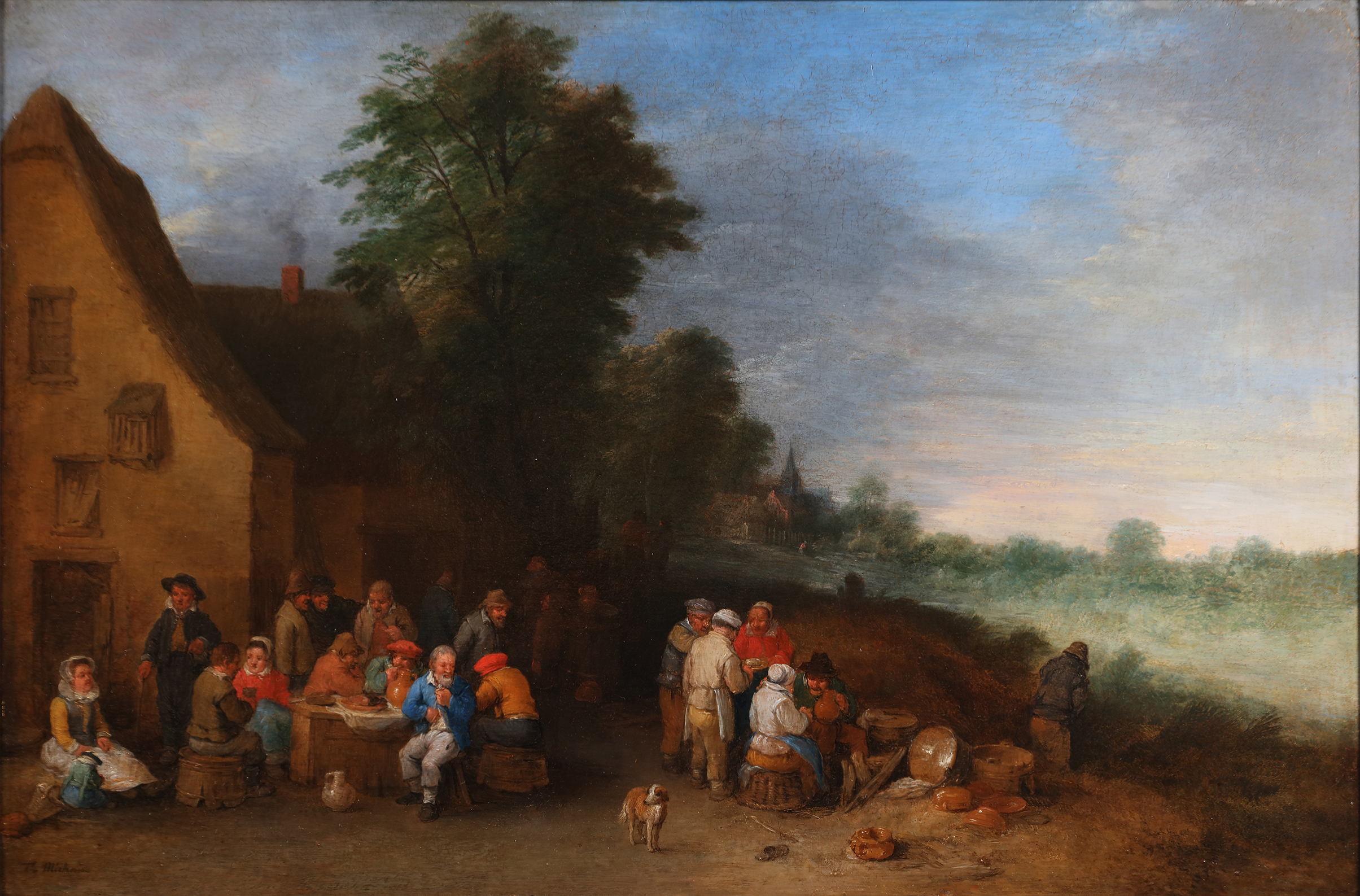 Peasants eating, drinking and conversing in front of a tavern